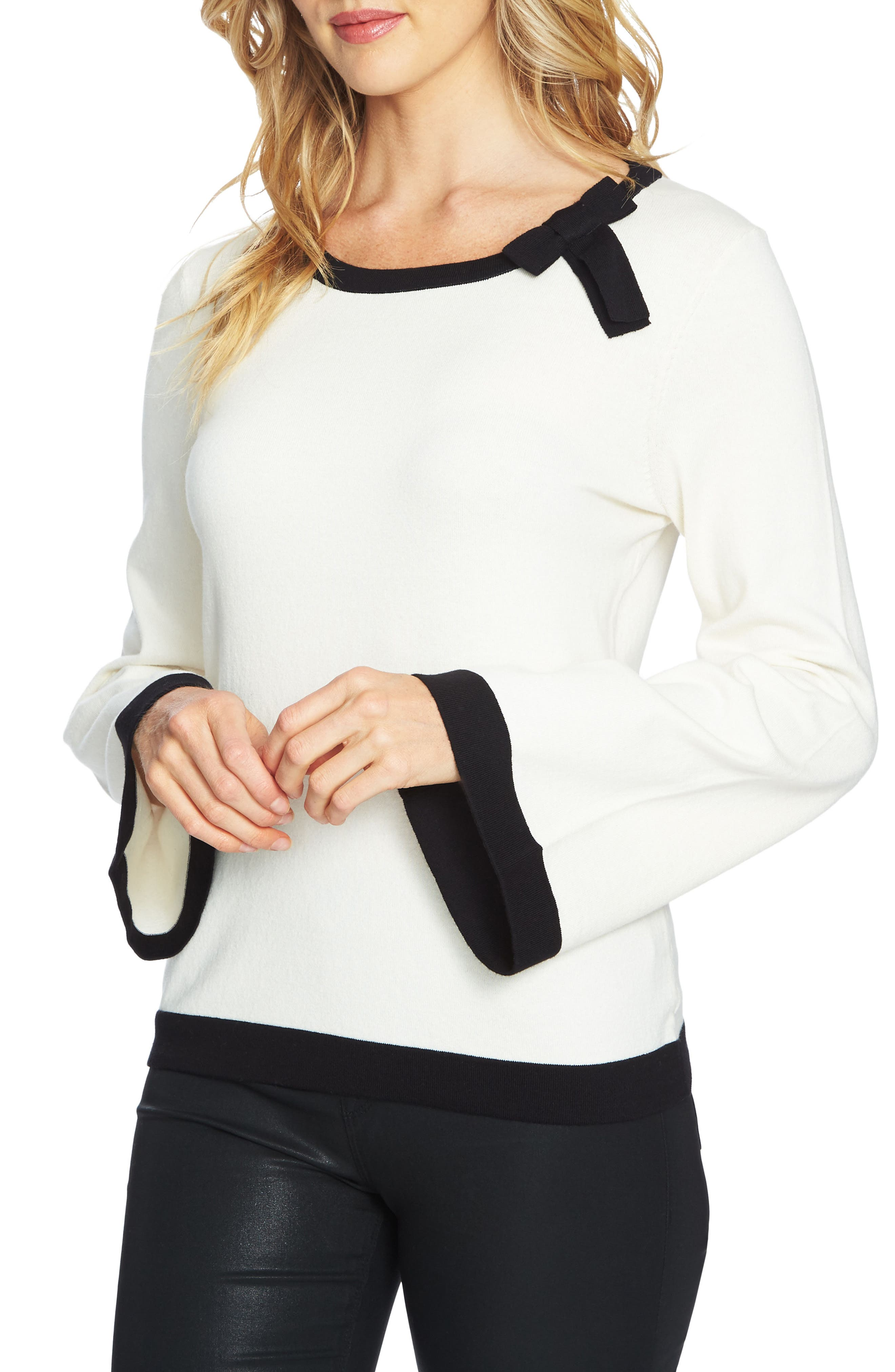 Contrast Tipped Bell Sleeve Sweater,                         Main,                         color, Antique White