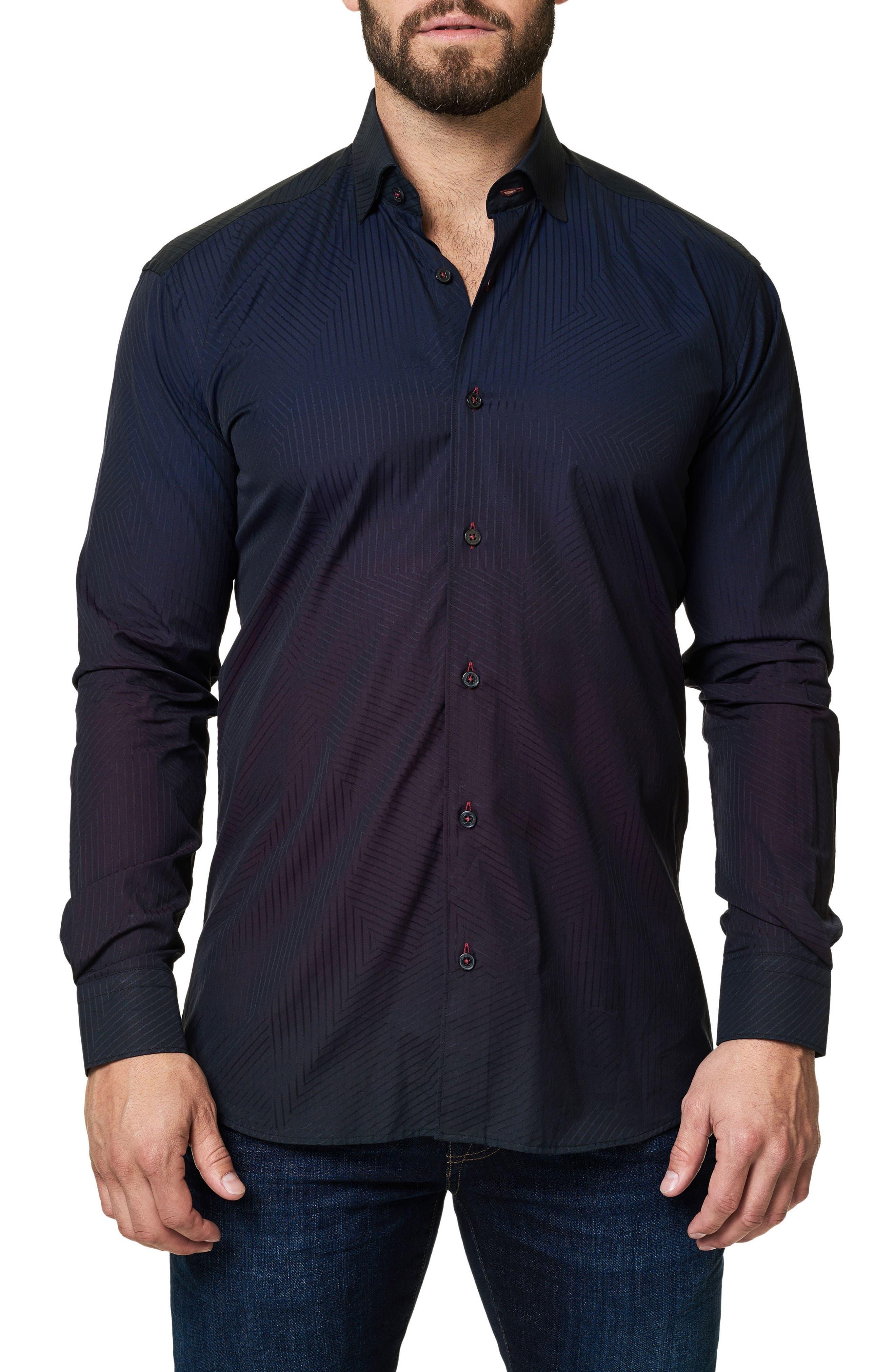 Print Trim Fit Sport Shirt,                         Main,                         color, Black