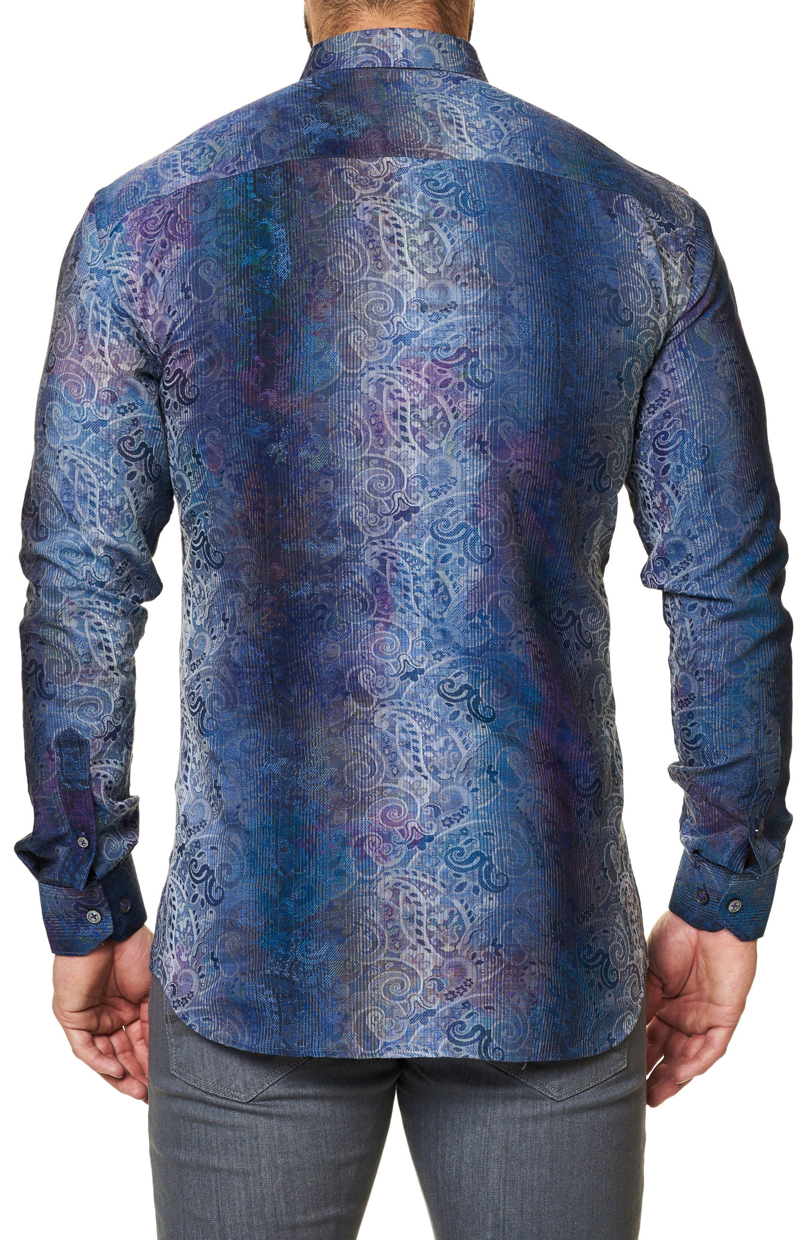 Embroidered Trim Fit Sport Shirt,                             Alternate thumbnail 2, color,                             Blue