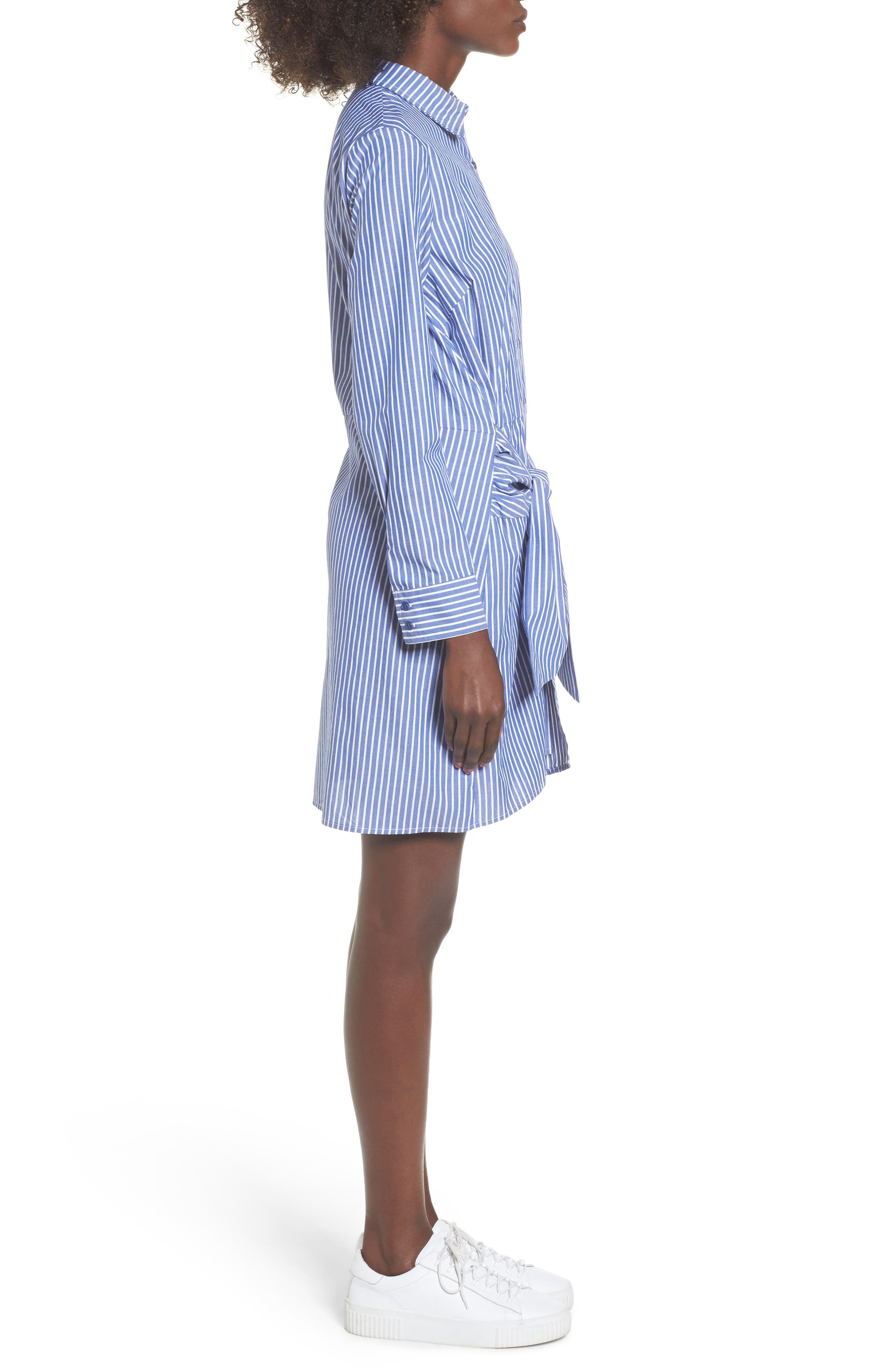 Tie Front Stripe Shirtdress,                             Alternate thumbnail 3, color,                             Blue White Stripe