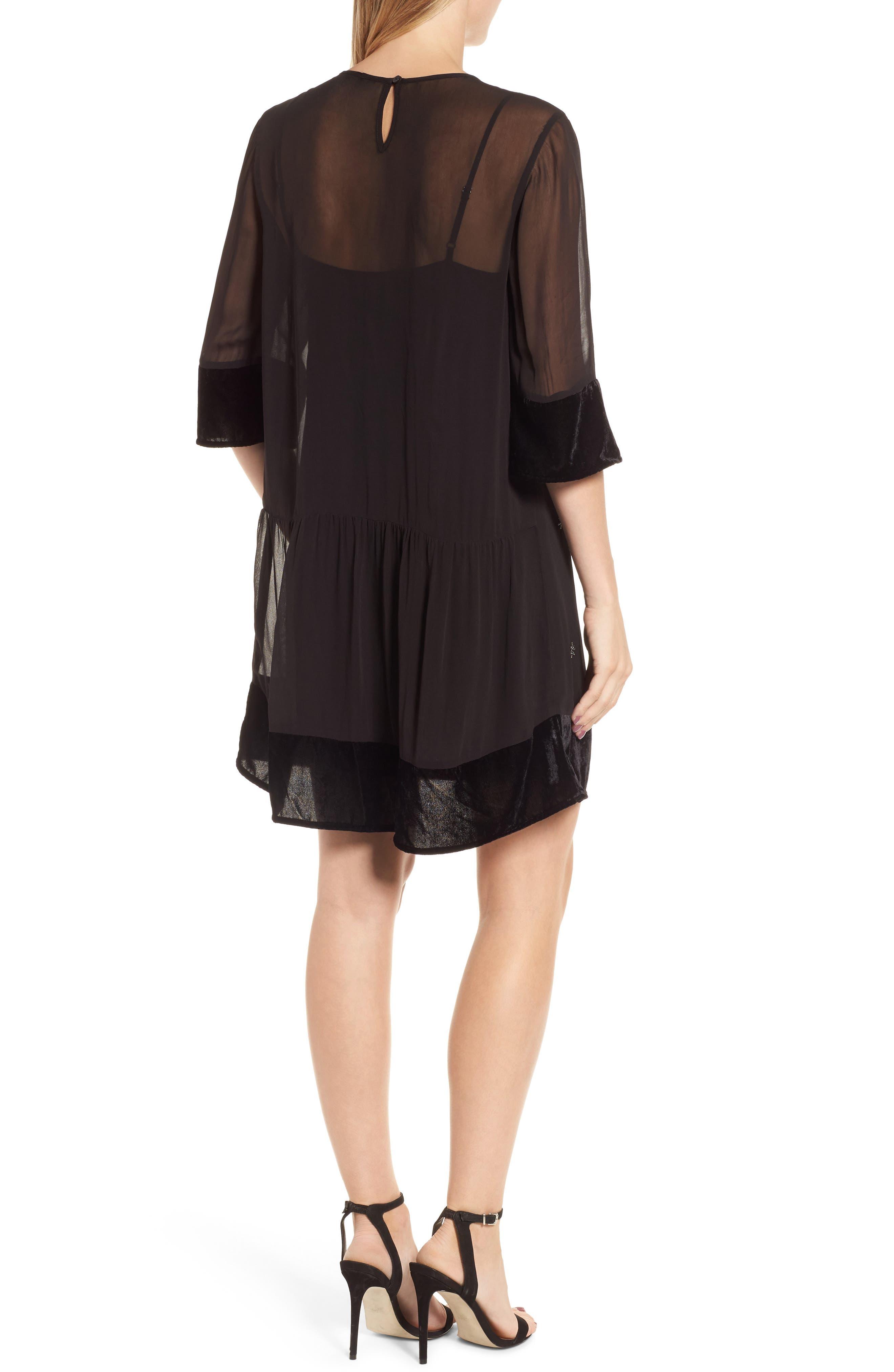 Beaded Velvet Georgette Dress,                             Alternate thumbnail 2, color,                             Black