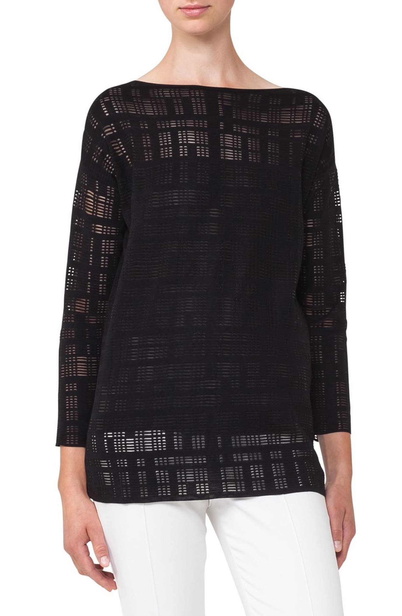 Square Embroidered Silk Blend Tunic,                         Main,                         color, Black