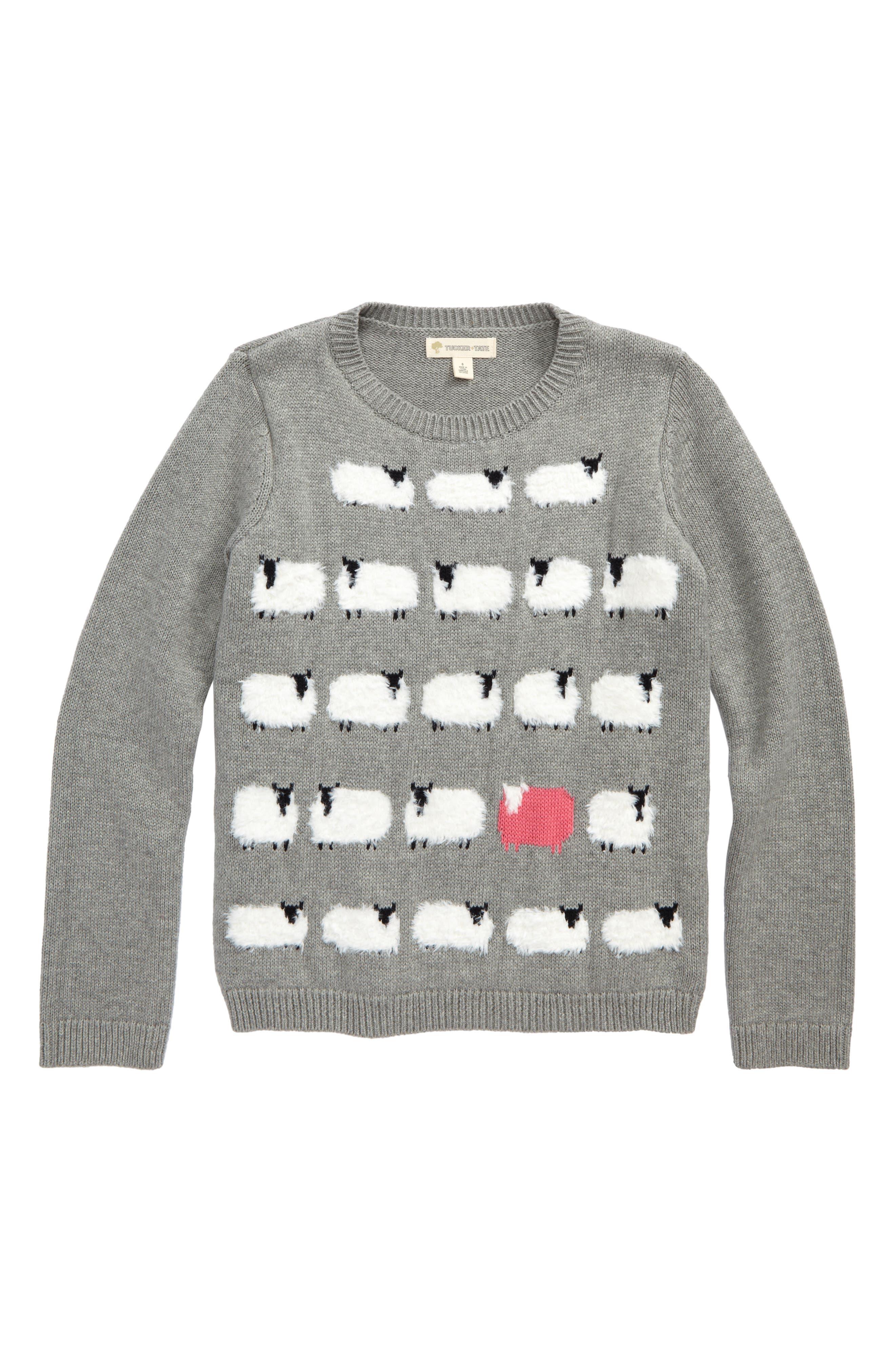 Intarsia Knit Sweater,                             Main thumbnail 1, color,                             Grey Medium Heather Sheep