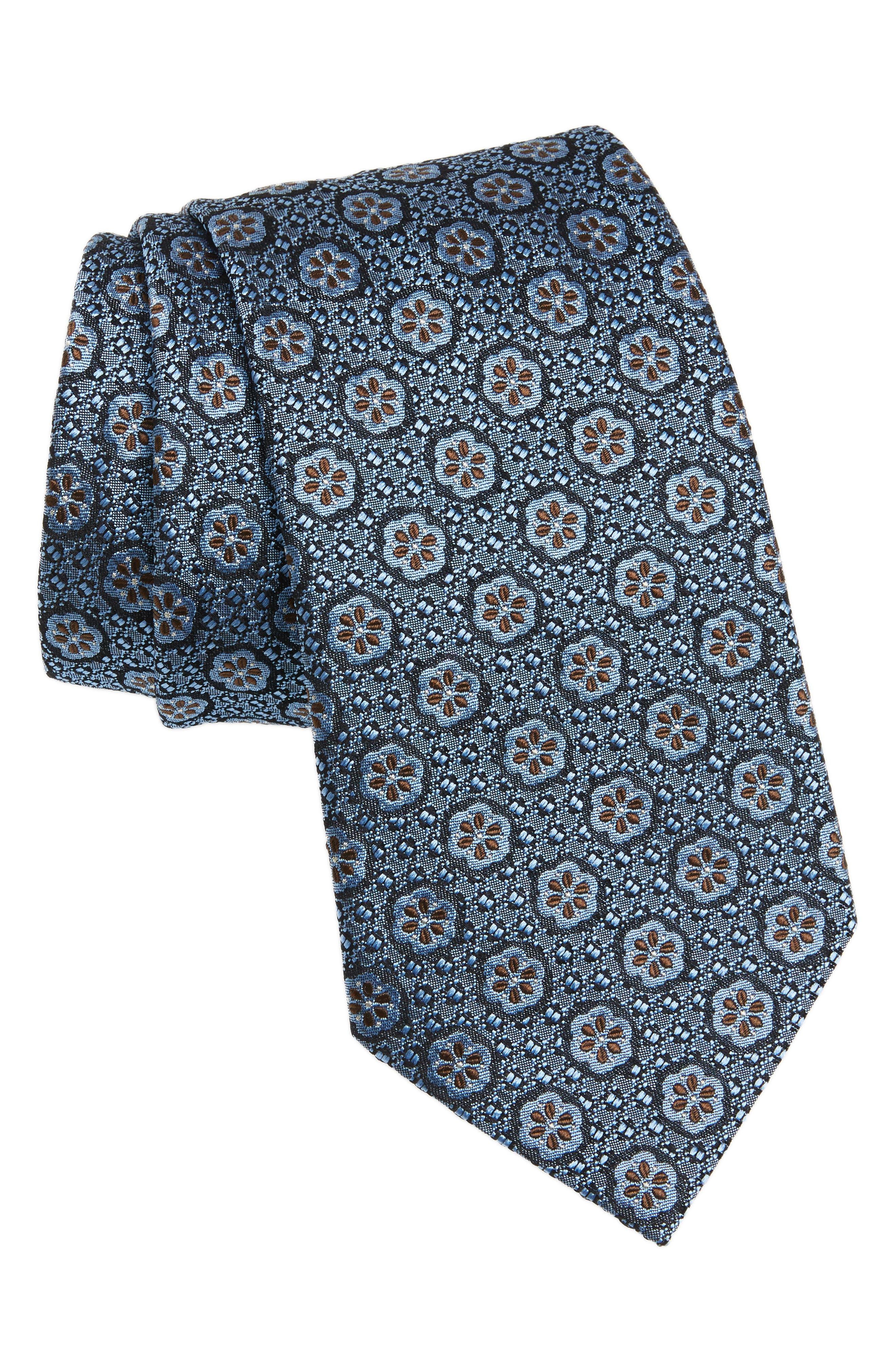 Medallion Silk Tie,                         Main,                         color, Light Blue