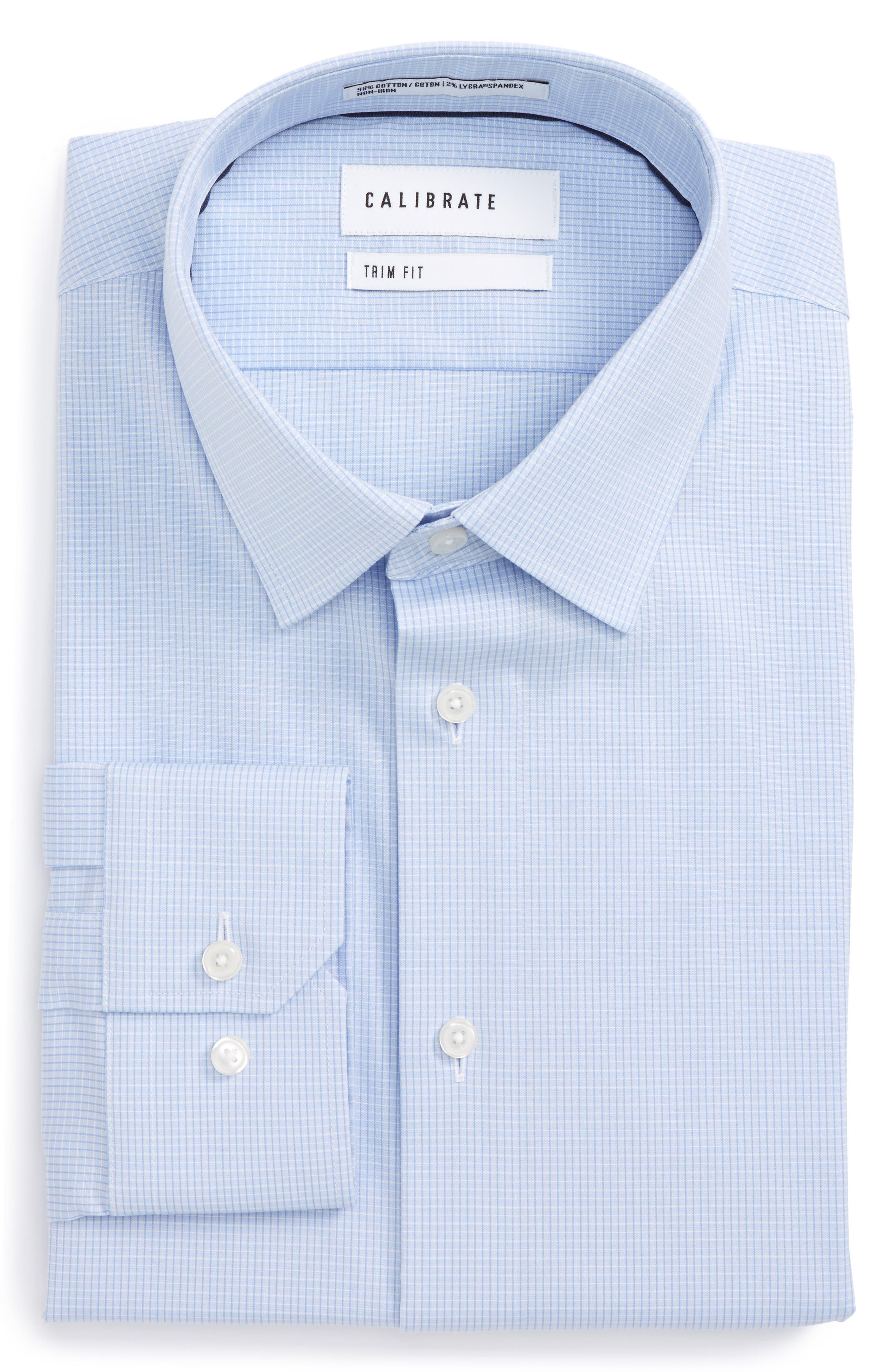 Main Image - Calibrate Trim Fit Stretch No-Iron Check Dress Shirt