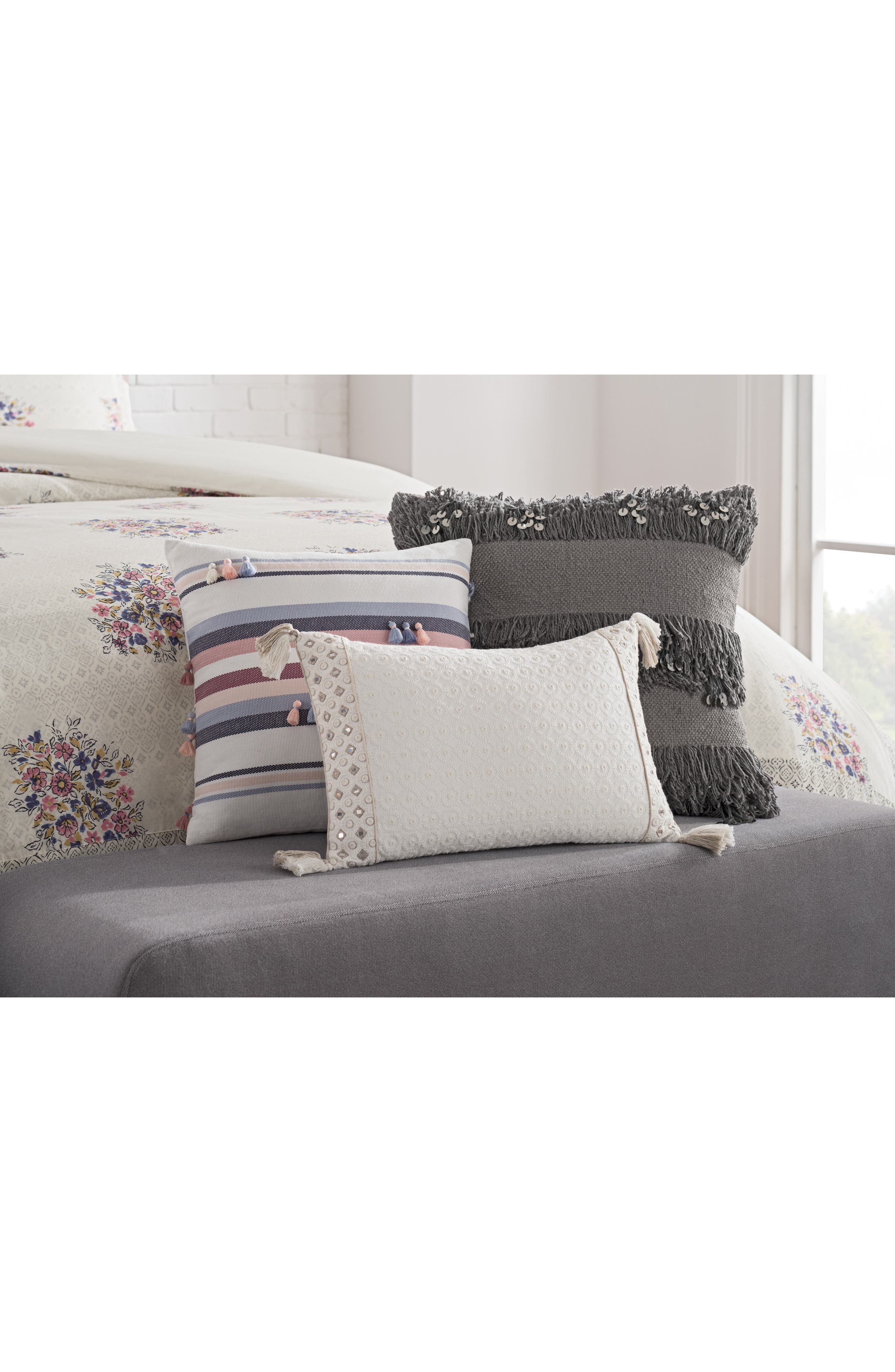 cupcakes & cashmere Embroidered Tassel Pillow,                             Alternate thumbnail 3, color,                             White