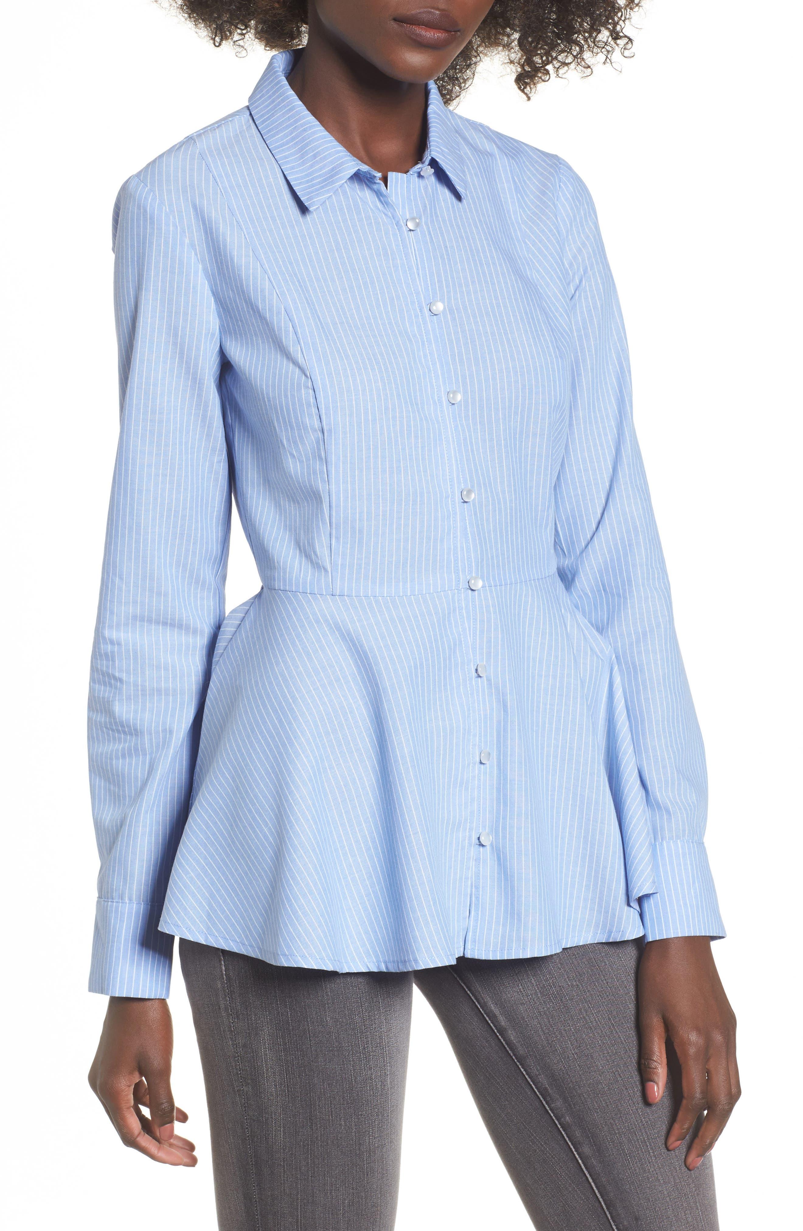 Stripe Peplum Shirt,                             Main thumbnail 1, color,                             Blue/ White