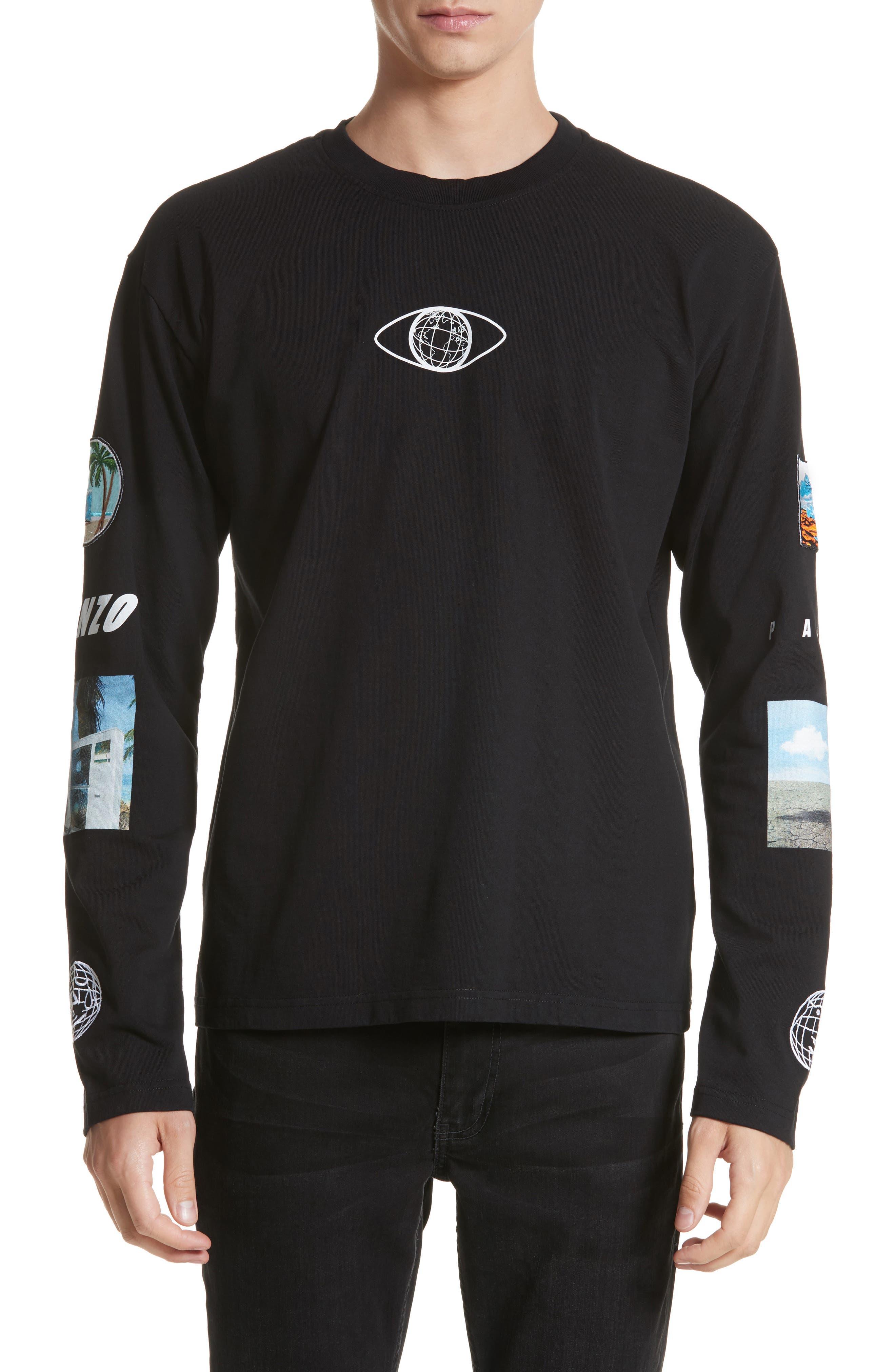 Landscape Long Sleeve T-Shirt,                         Main,                         color, Black