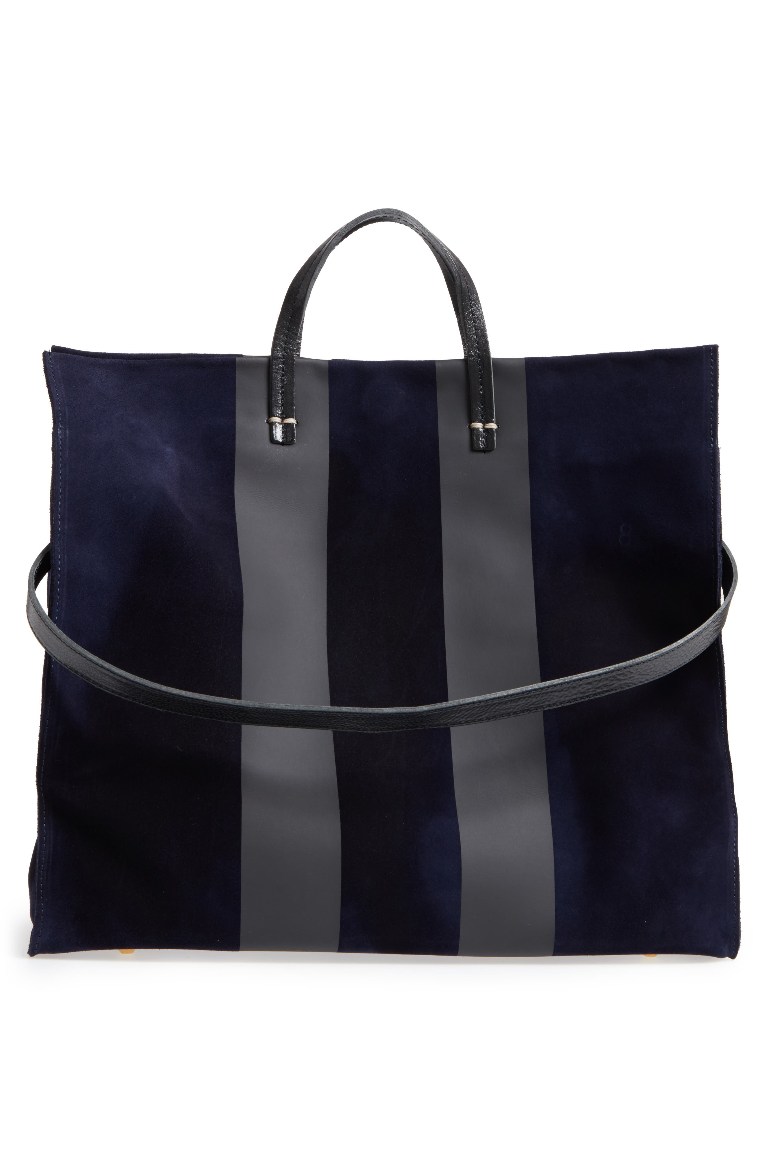 Simple Leather Tote,                             Alternate thumbnail 3, color,                             Navy Suede