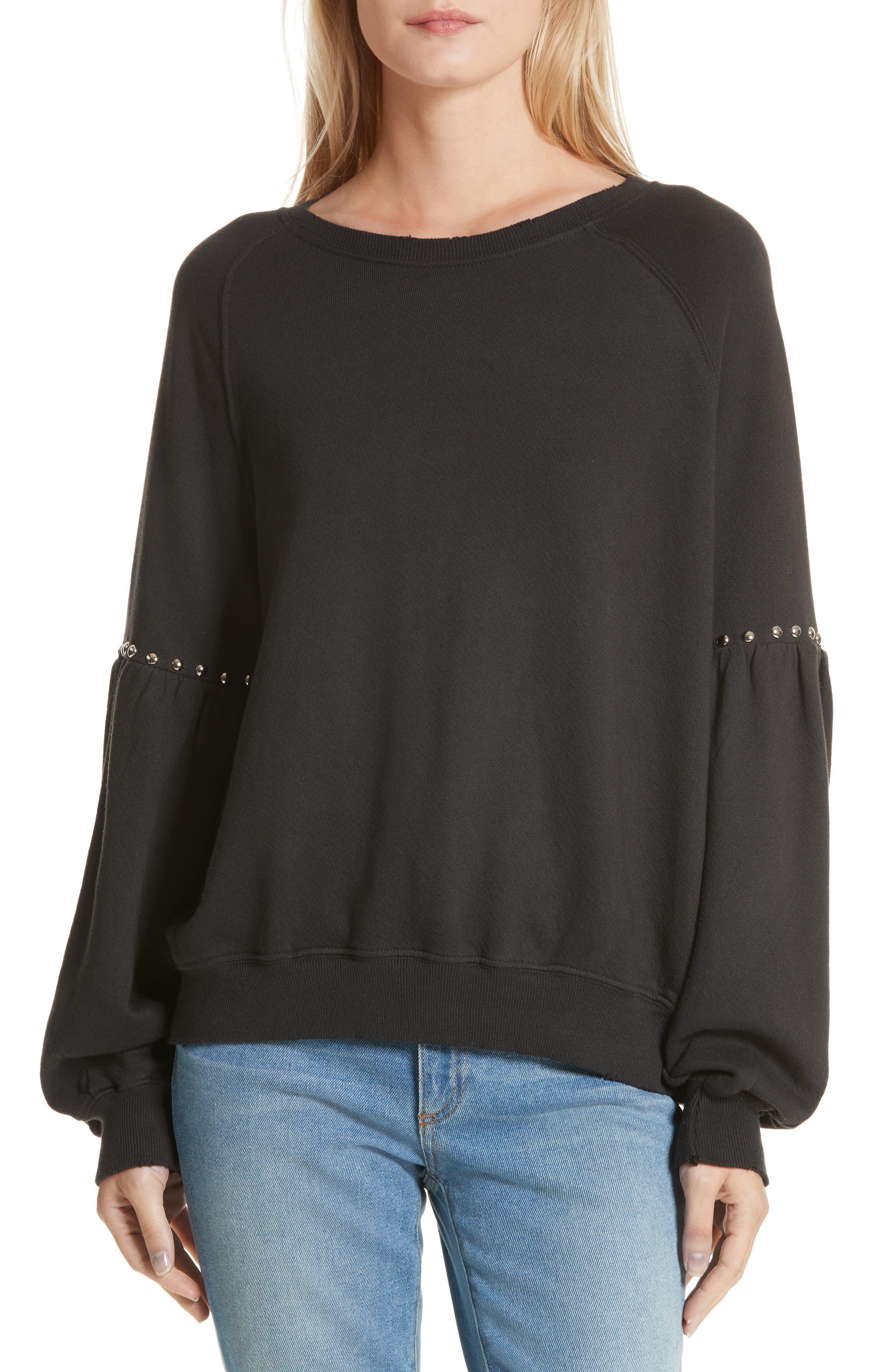Alternate Image 1 Selected - THE GREAT. The Bishop Sleeve Studded Sweatshirt