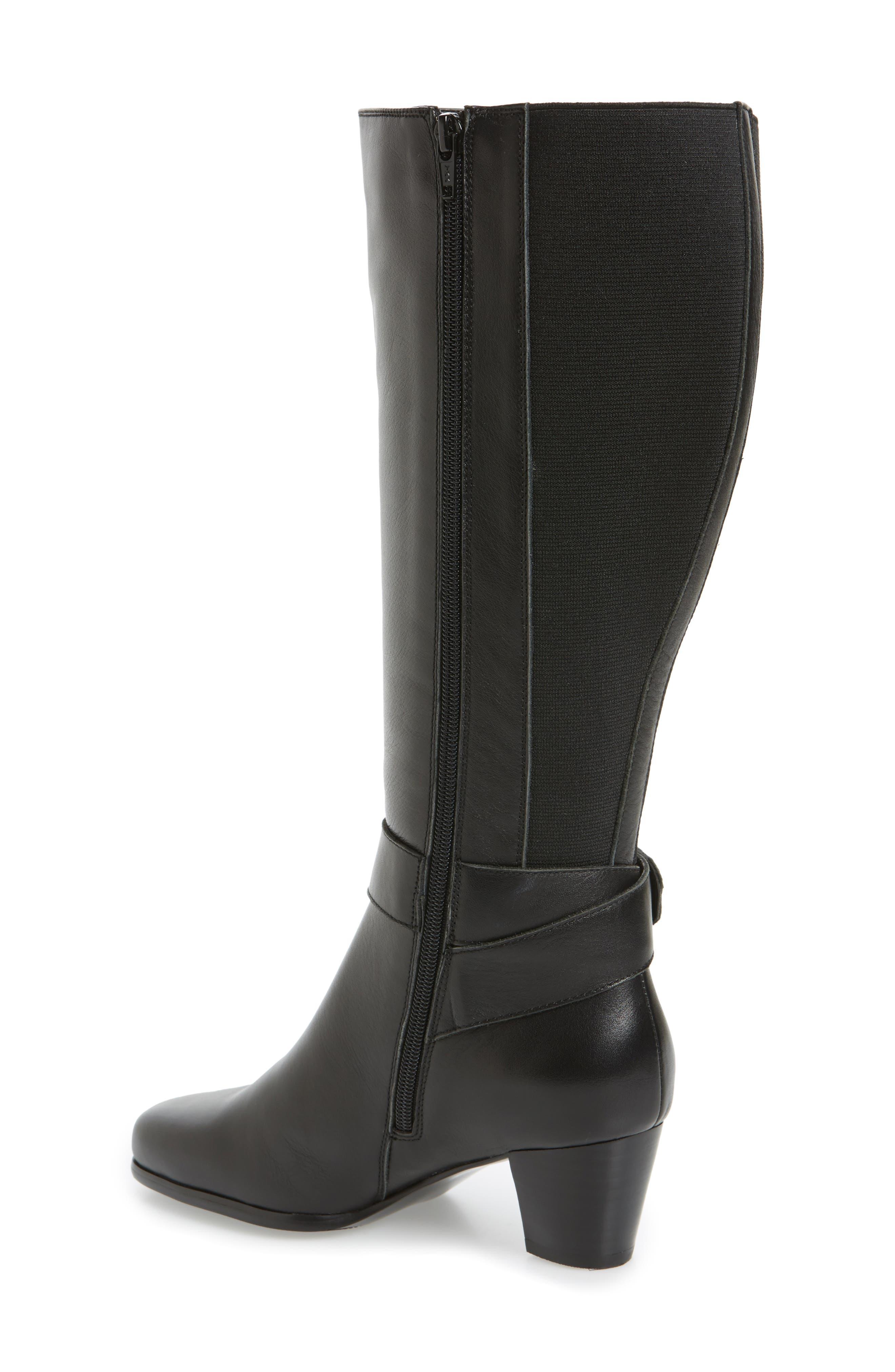 Bonita 18 Boot,                             Alternate thumbnail 2, color,                             Black Leather Fabric