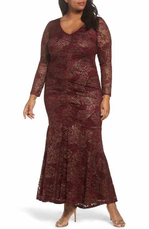Marina Foil Lace Ruched Mermaid Gown (Plus Size)