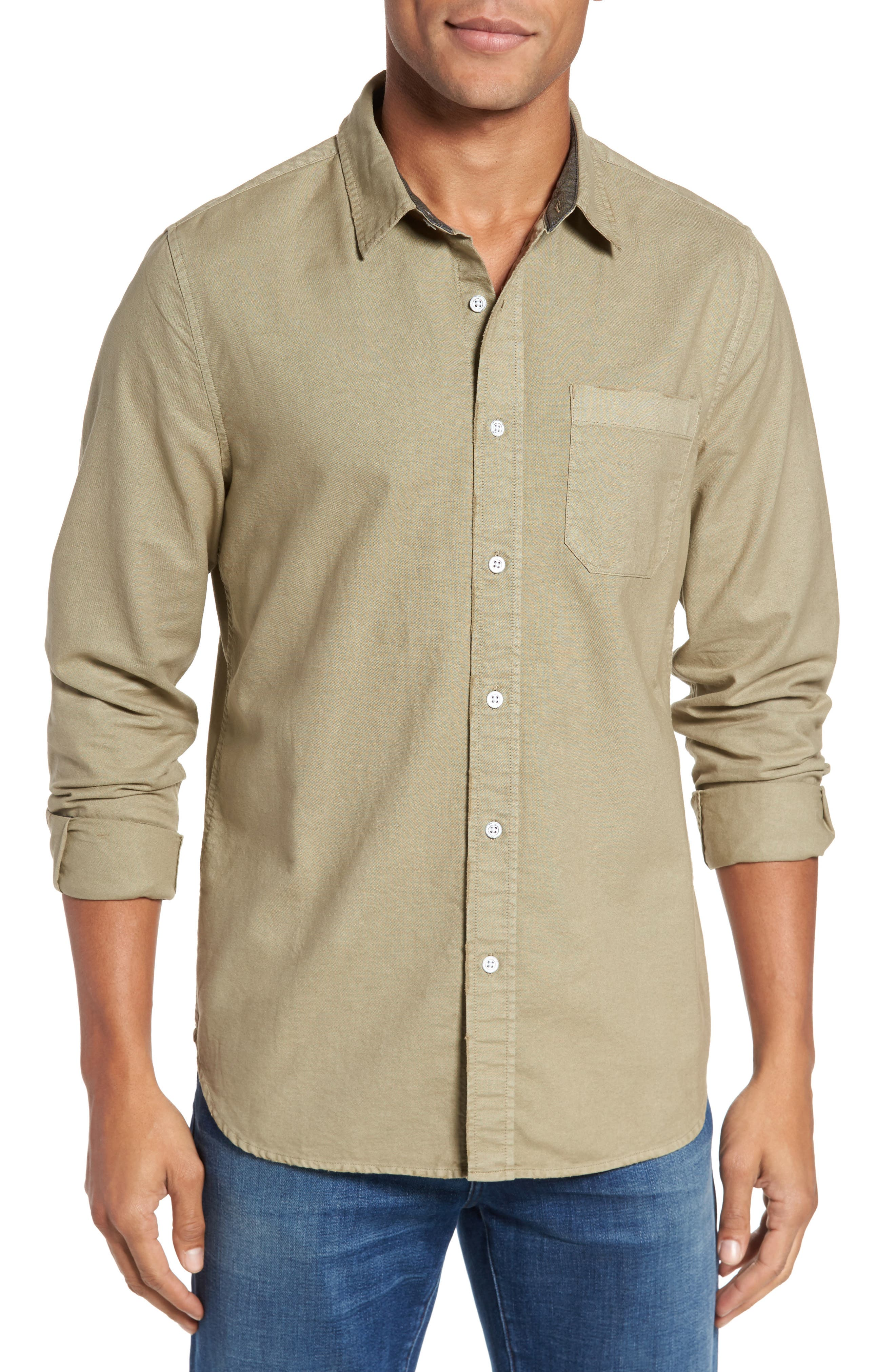 Caleb Slim Fit Twill Sport Shirt,                         Main,                         color, 5 Years Pigment New Moss