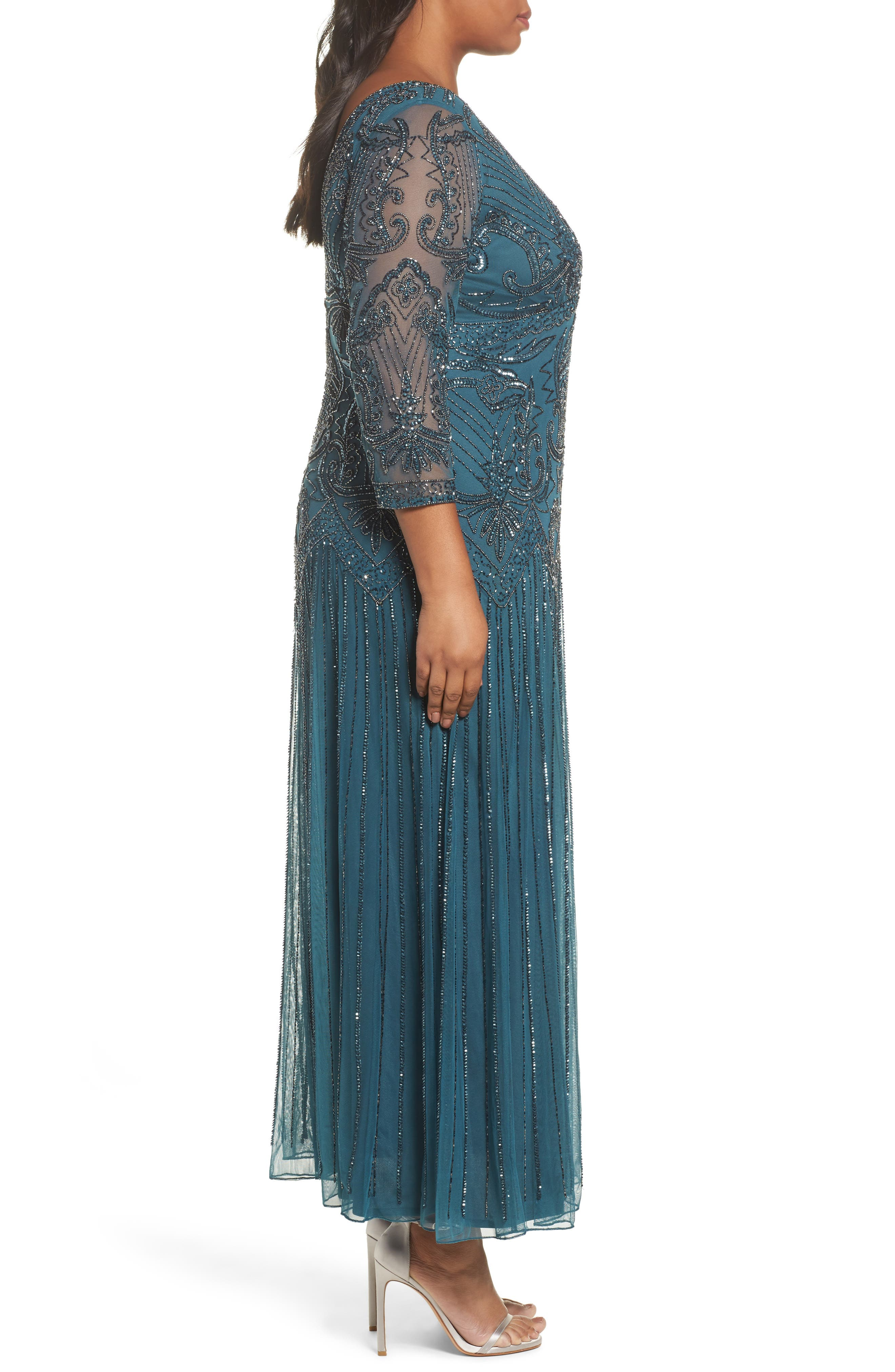 Alternate Image 3  - Pisarro Nights Embellished Double V-Neck Long Dress (Plus Size)