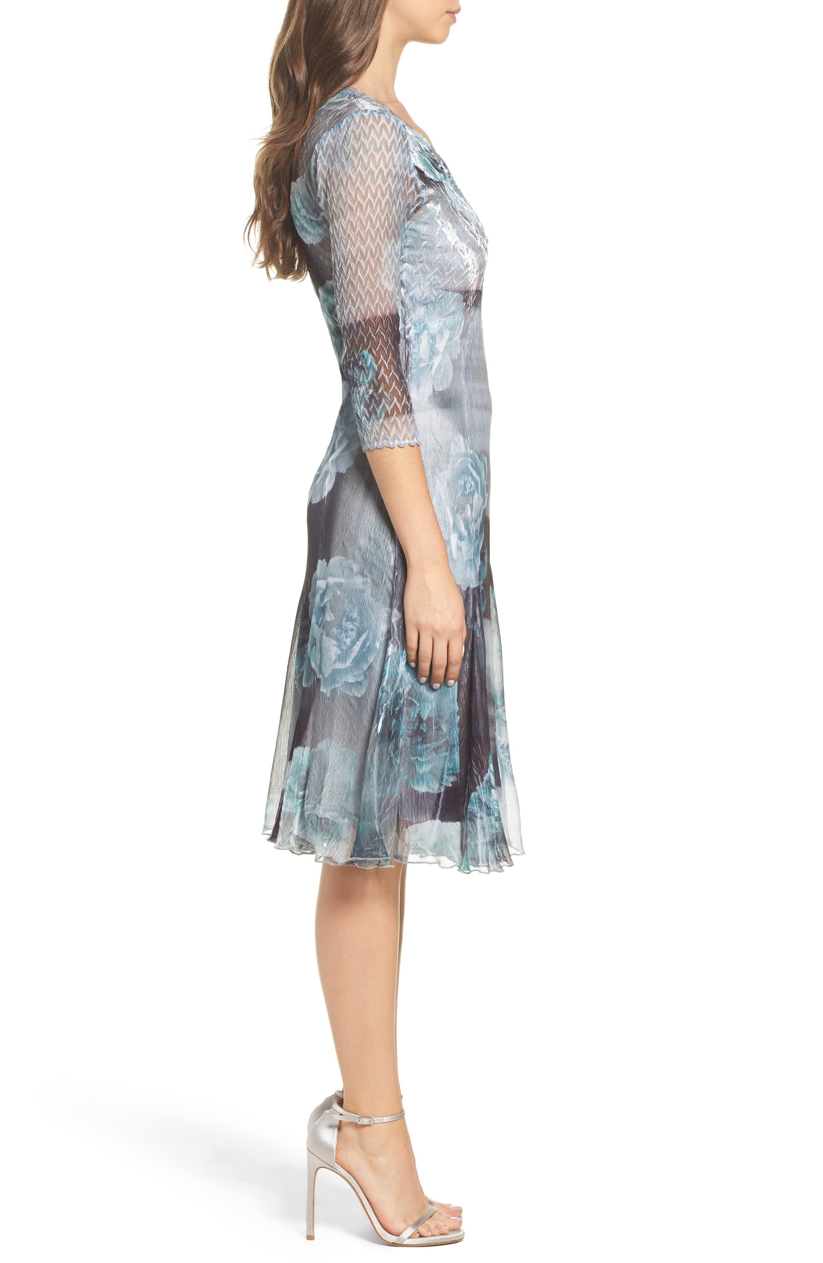 Floral A-Line Chiffon Dress,                             Alternate thumbnail 3, color,                             Jade Mist