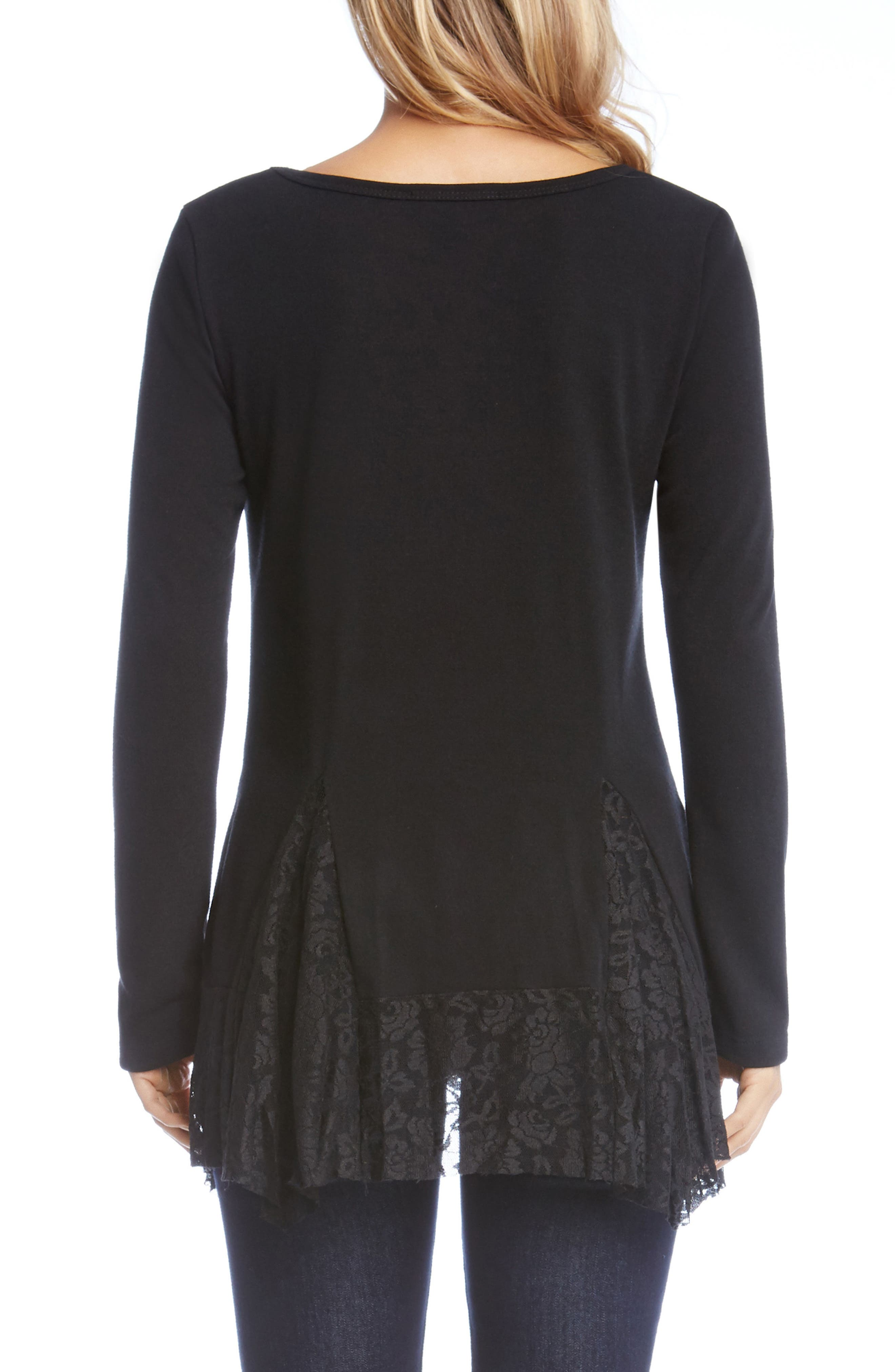Karen Karen Lace Inset Sweater,                             Alternate thumbnail 2, color,                             Black