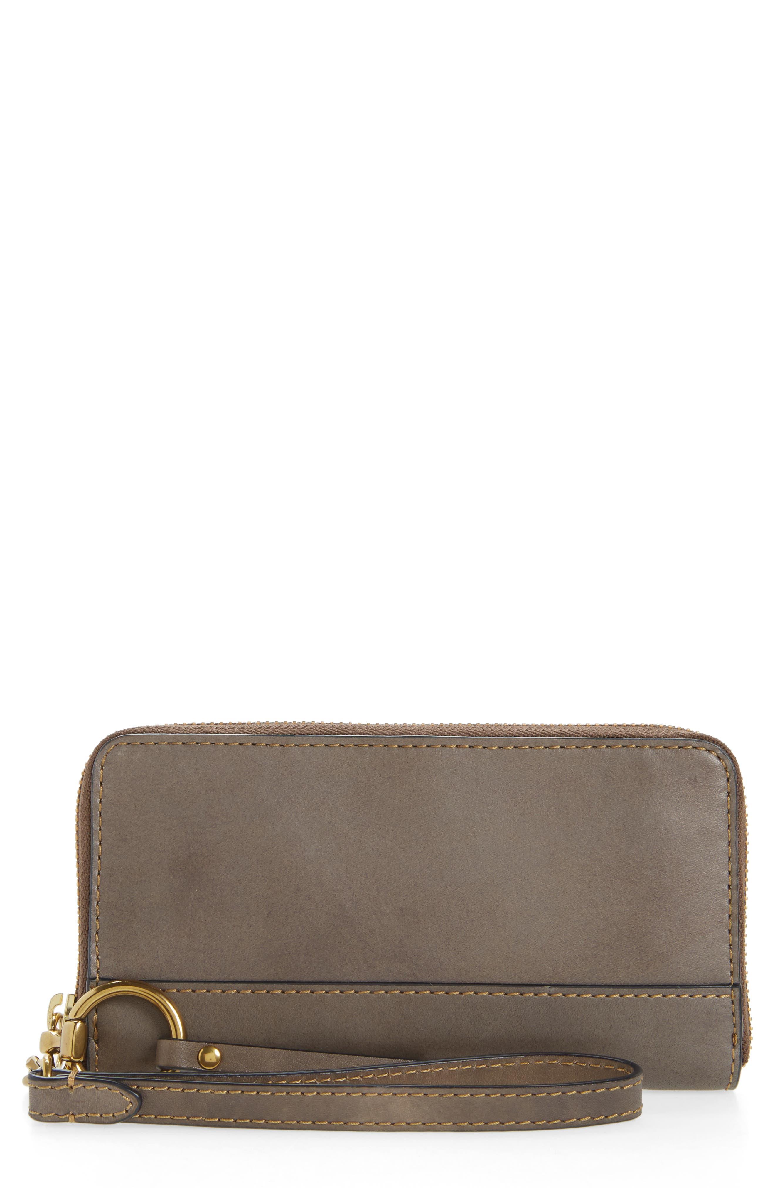 Ilana Harness Phone Leather Zip Wallet,                             Main thumbnail 1, color,                             Grey
