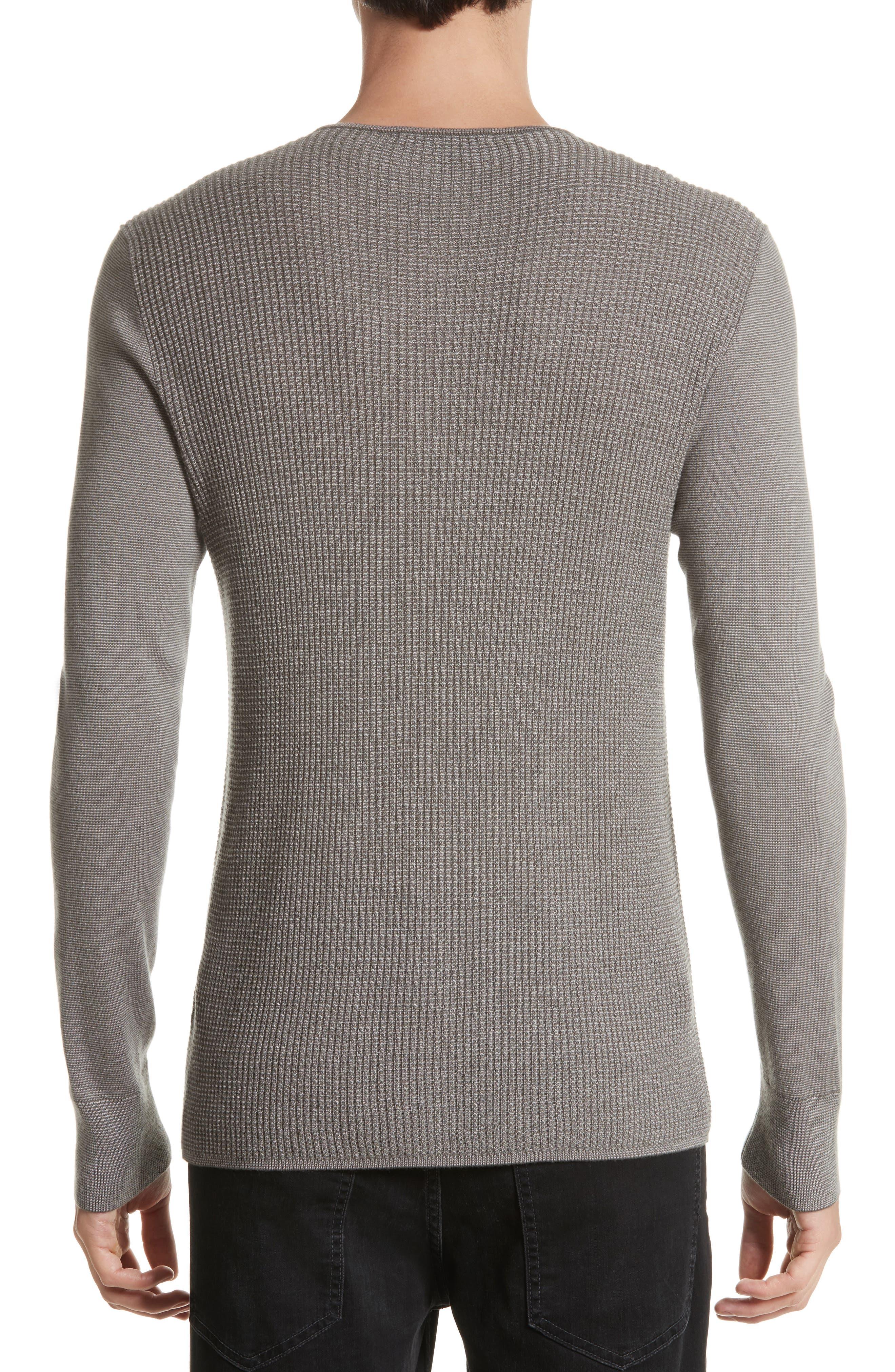 Alternate Image 2  - John Varvatos Collection Waffle Knit Silk & Cashmere Henley Sweater