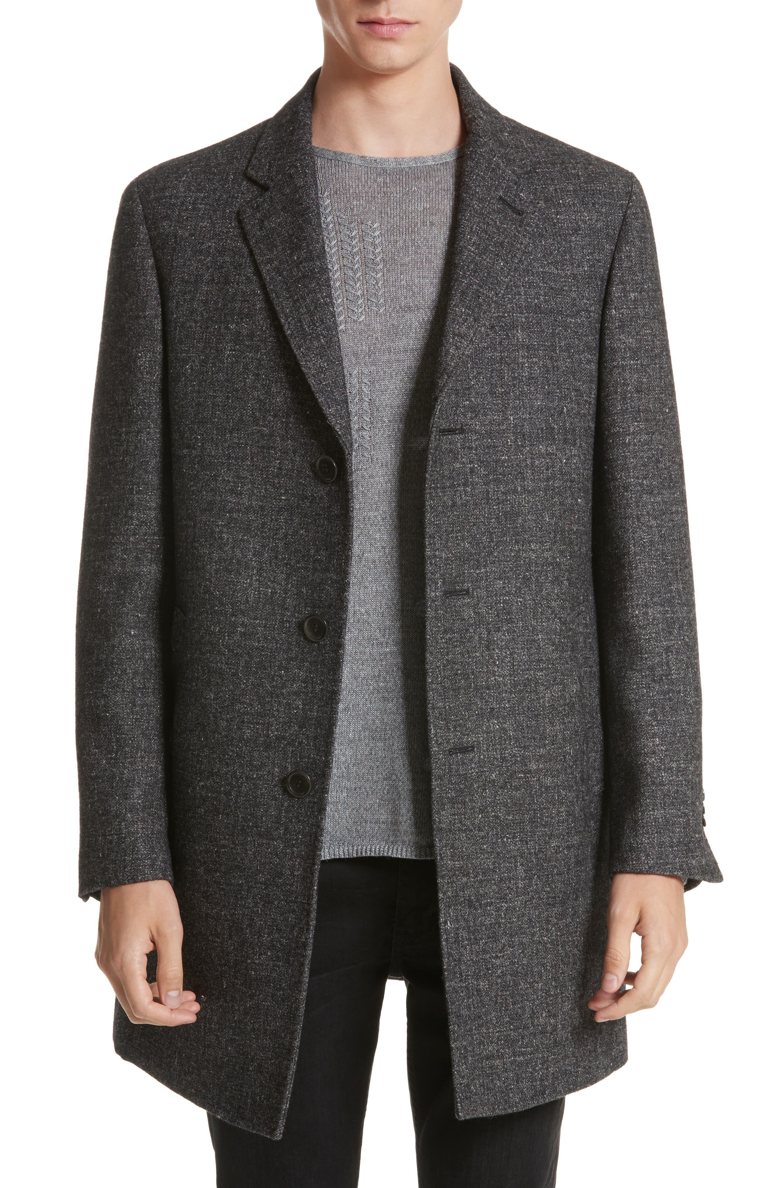 Walsh Wool Blend Topcoat,                             Main thumbnail 1, color,                             Charcoal