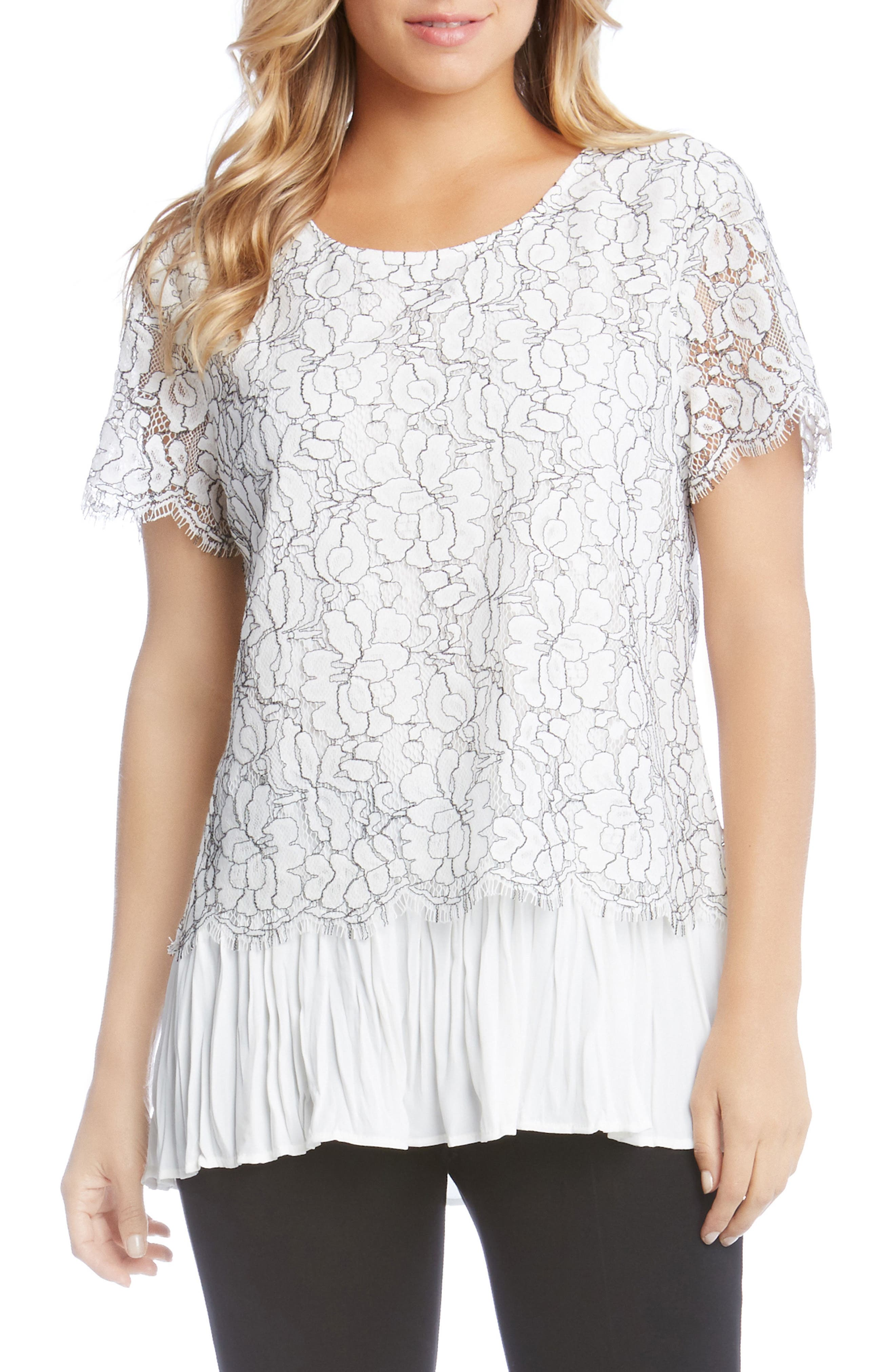 Contrast Hem Lace Top,                         Main,                         color, Cream