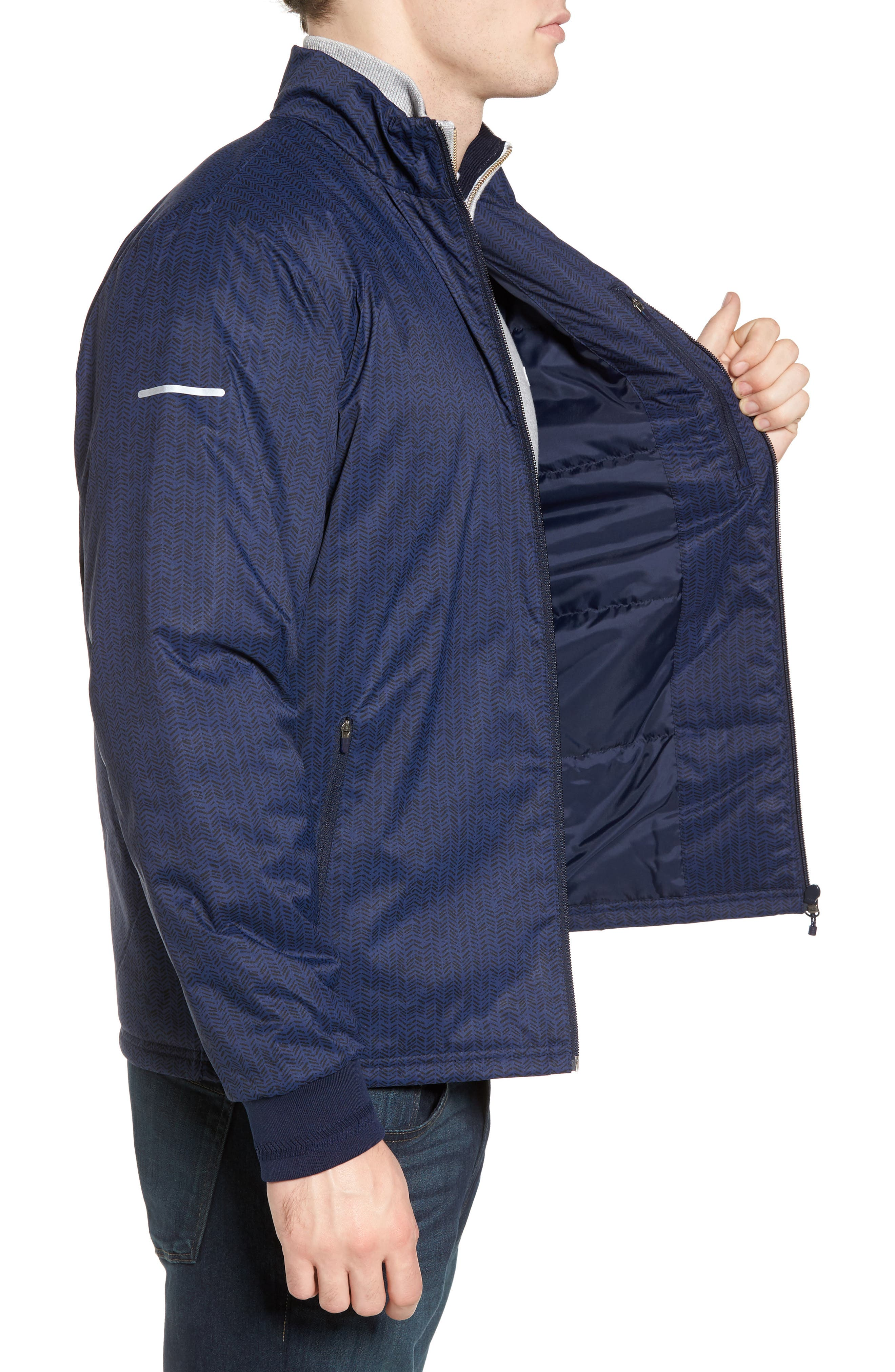 Herringbone Zip-Up Jacket,                             Alternate thumbnail 3, color,                             Navy Blue/ Navy Blue