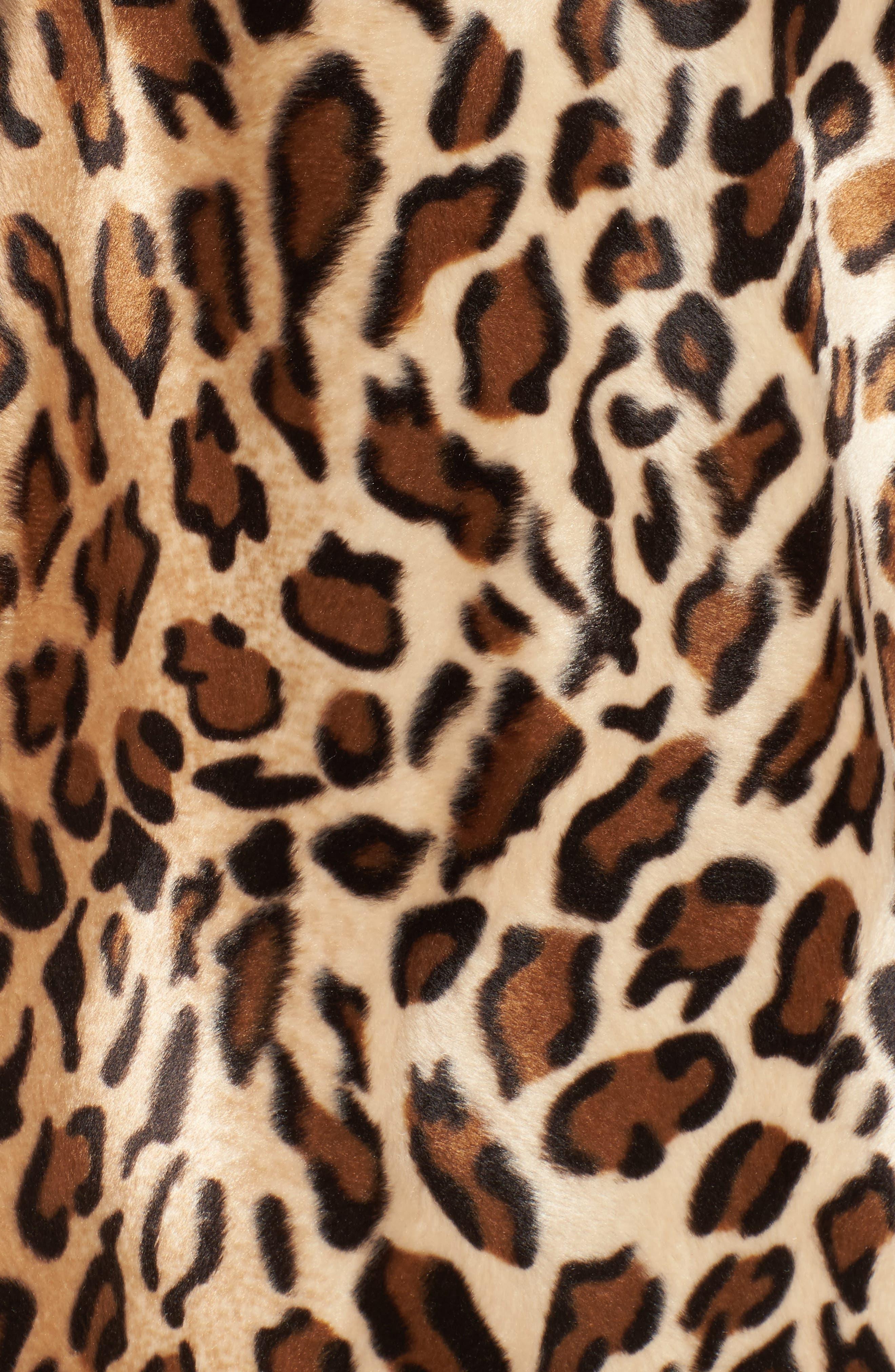 Faux Fur Leopard Jacket,                             Alternate thumbnail 5, color,                             Leopard