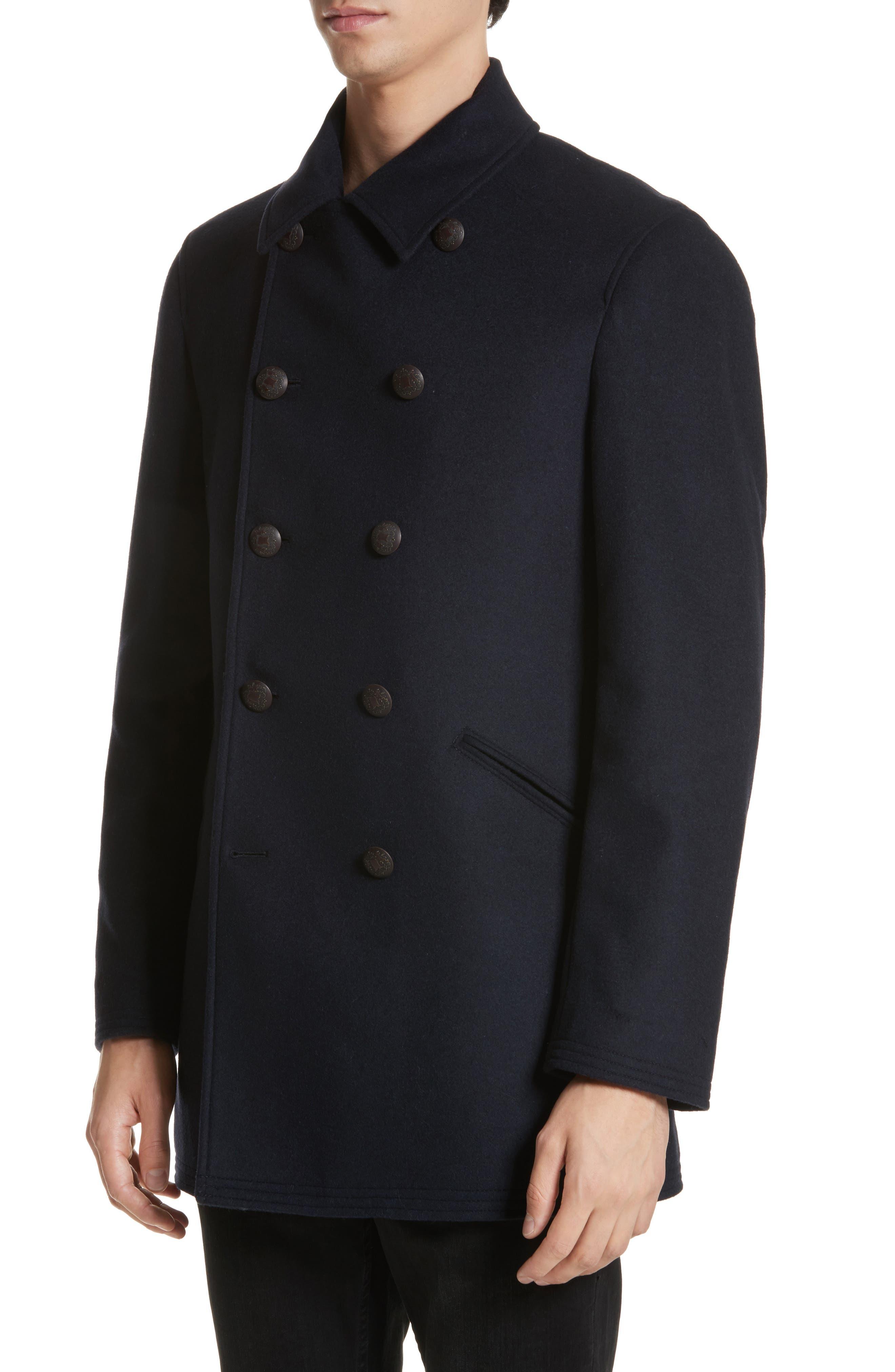 Hook Wool Blend Topcoat,                             Alternate thumbnail 4, color,                             Navy