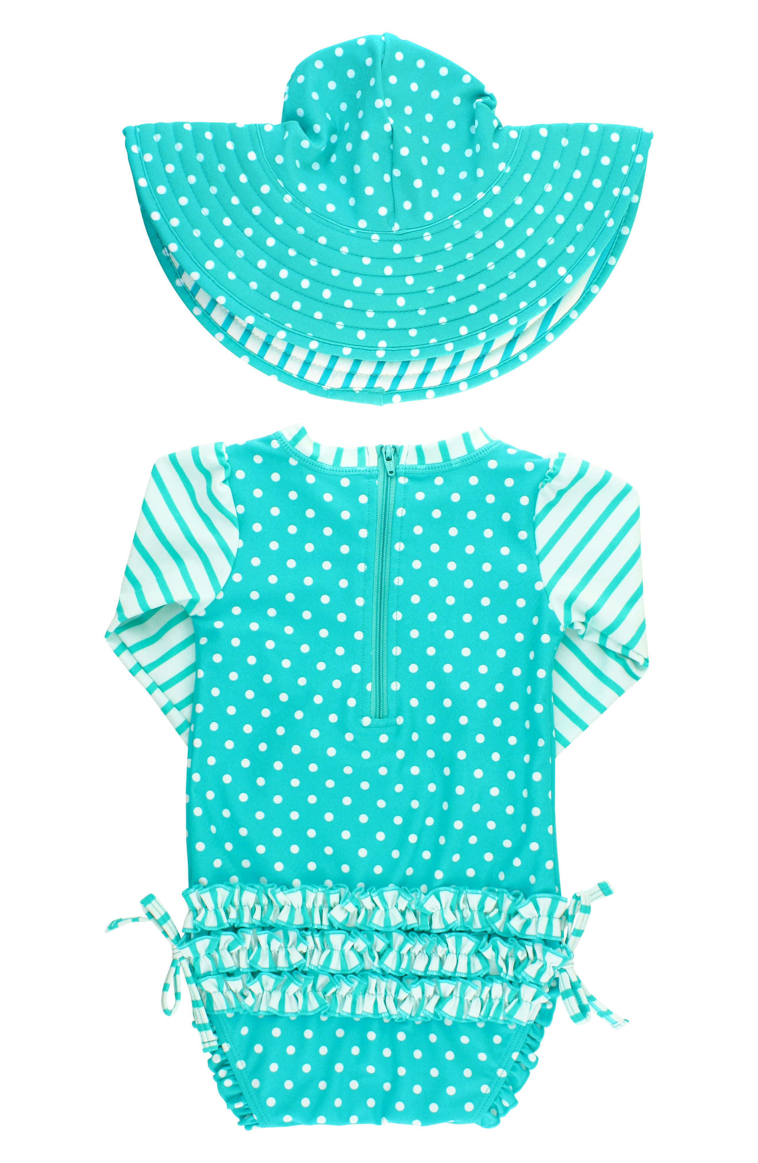 Alternate Image 2  - RuffleButts One-Piece Rashguard Swimsuit & Hat Set (Baby Girls)