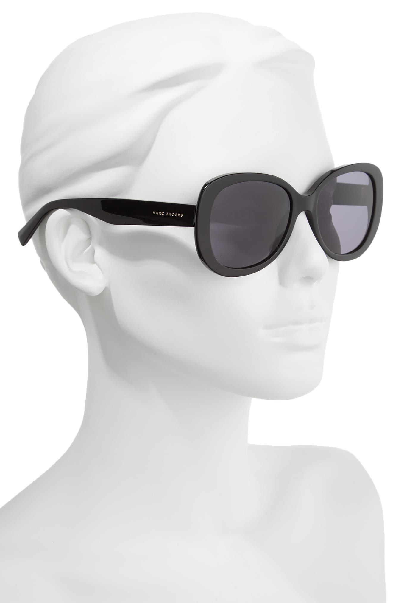 56mm Butterfly Sunglasses,                             Alternate thumbnail 2, color,                             Black Glitter