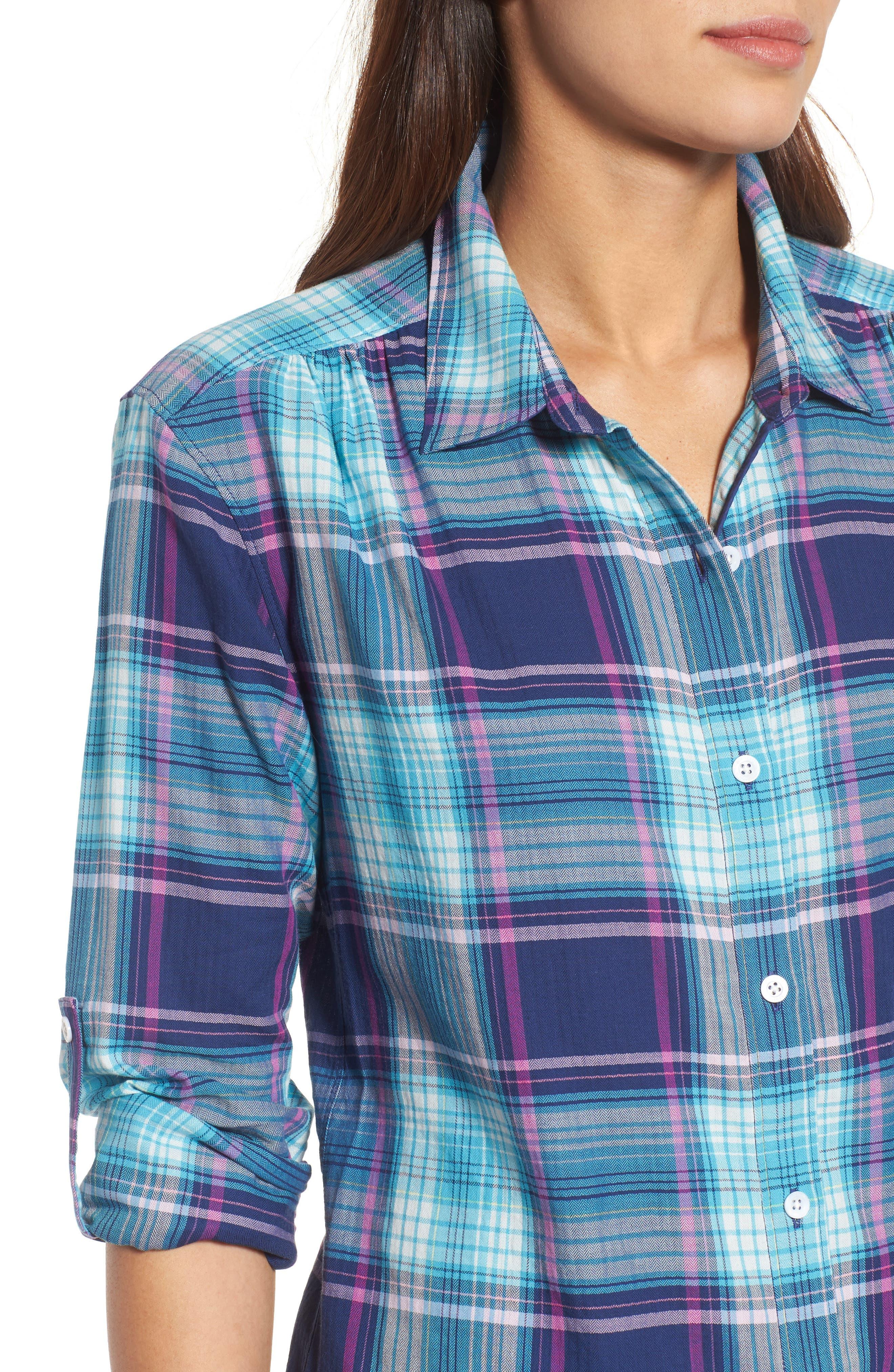Play it Again Plaid Long Sleeve Shirt,                             Alternate thumbnail 4, color,                             Kingdom Blue