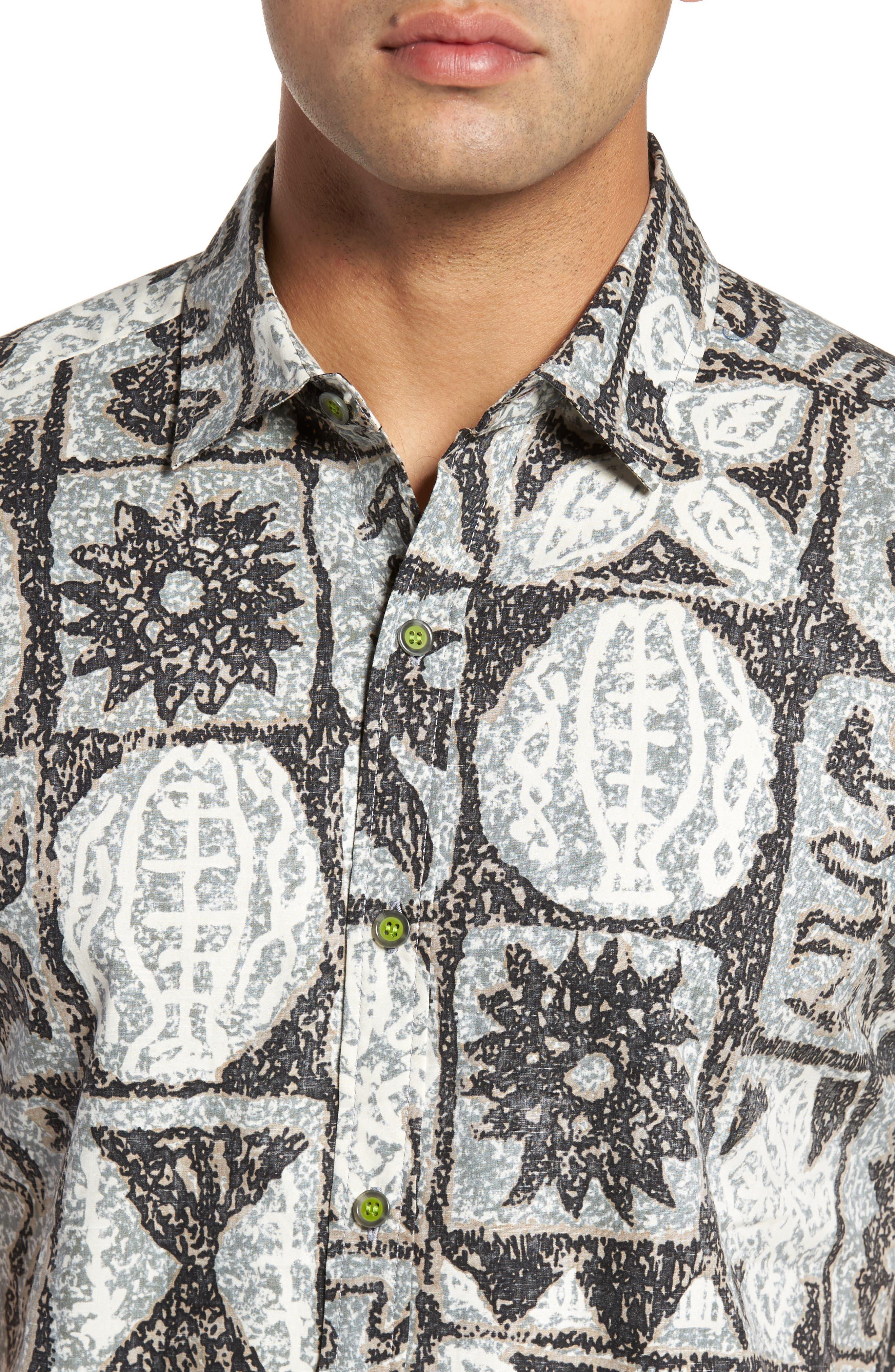 Poi Pounder Trim Fit Print Sport Shirt,                             Alternate thumbnail 4, color,                             Black