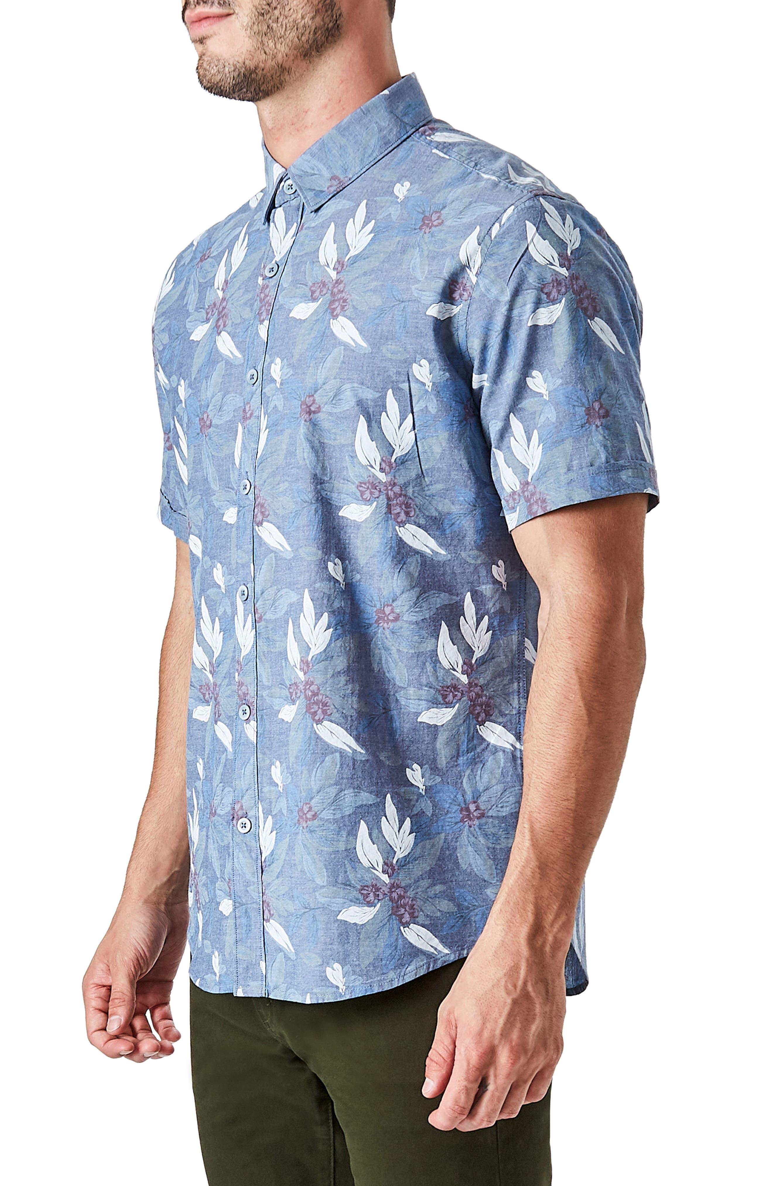 Woven Sport Shirt,                             Alternate thumbnail 4, color,                             Slate Blue