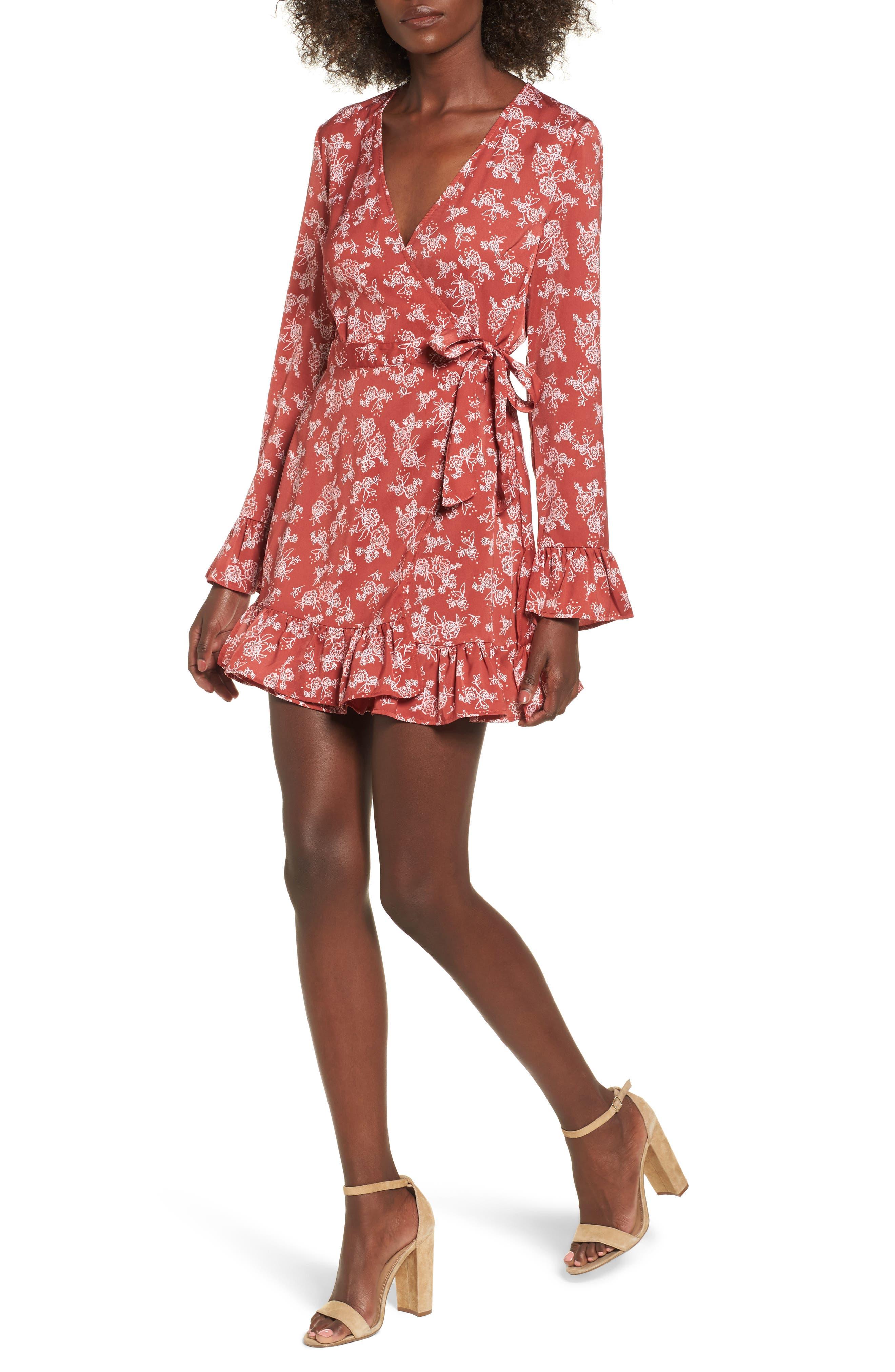 Ophelia Floral Print Wrap Dress,                         Main,                         color, Spice Linear Rose