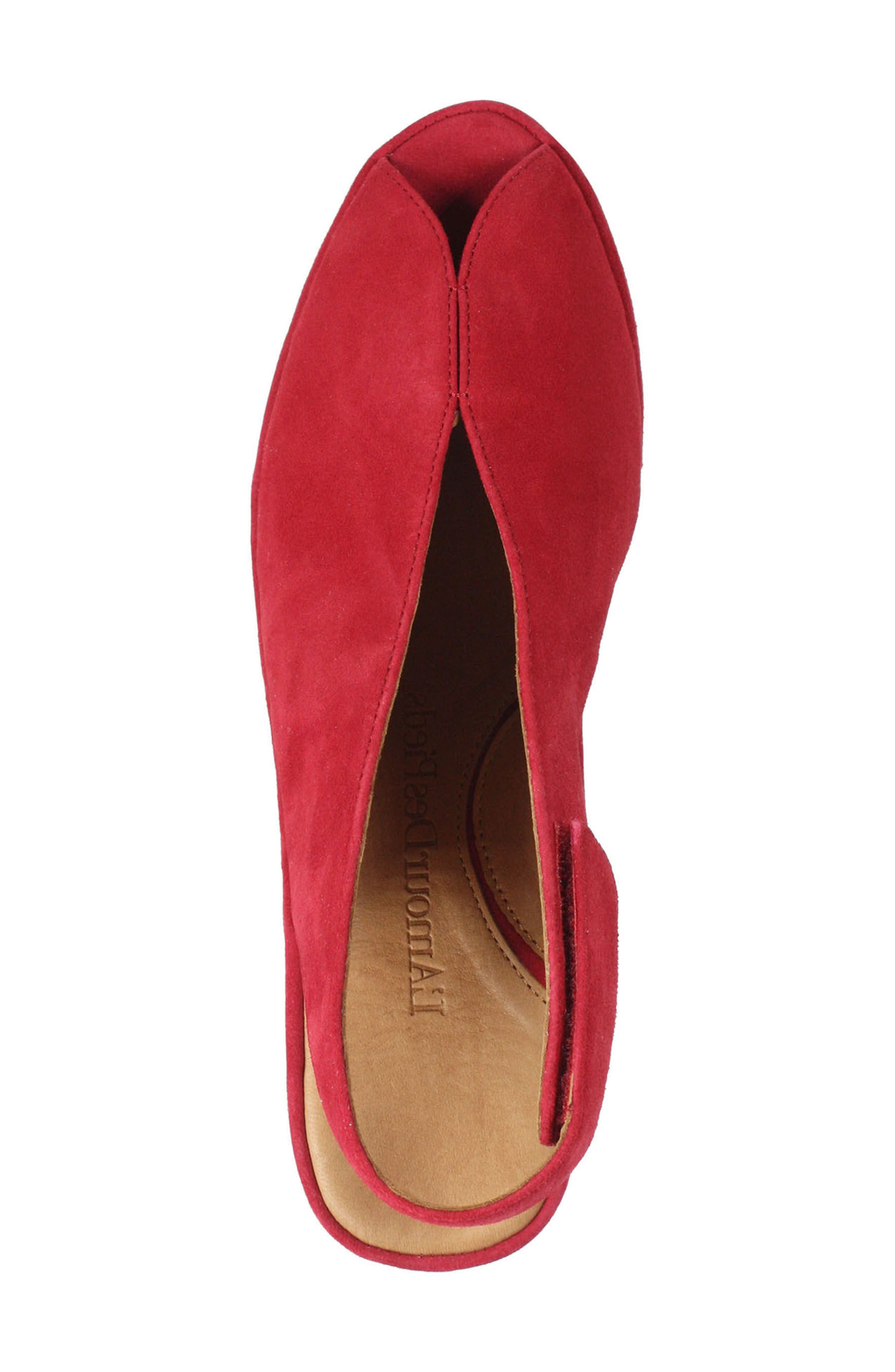 Odetta Slingback Wedge,                             Alternate thumbnail 5, color,                             Bright Red Suede