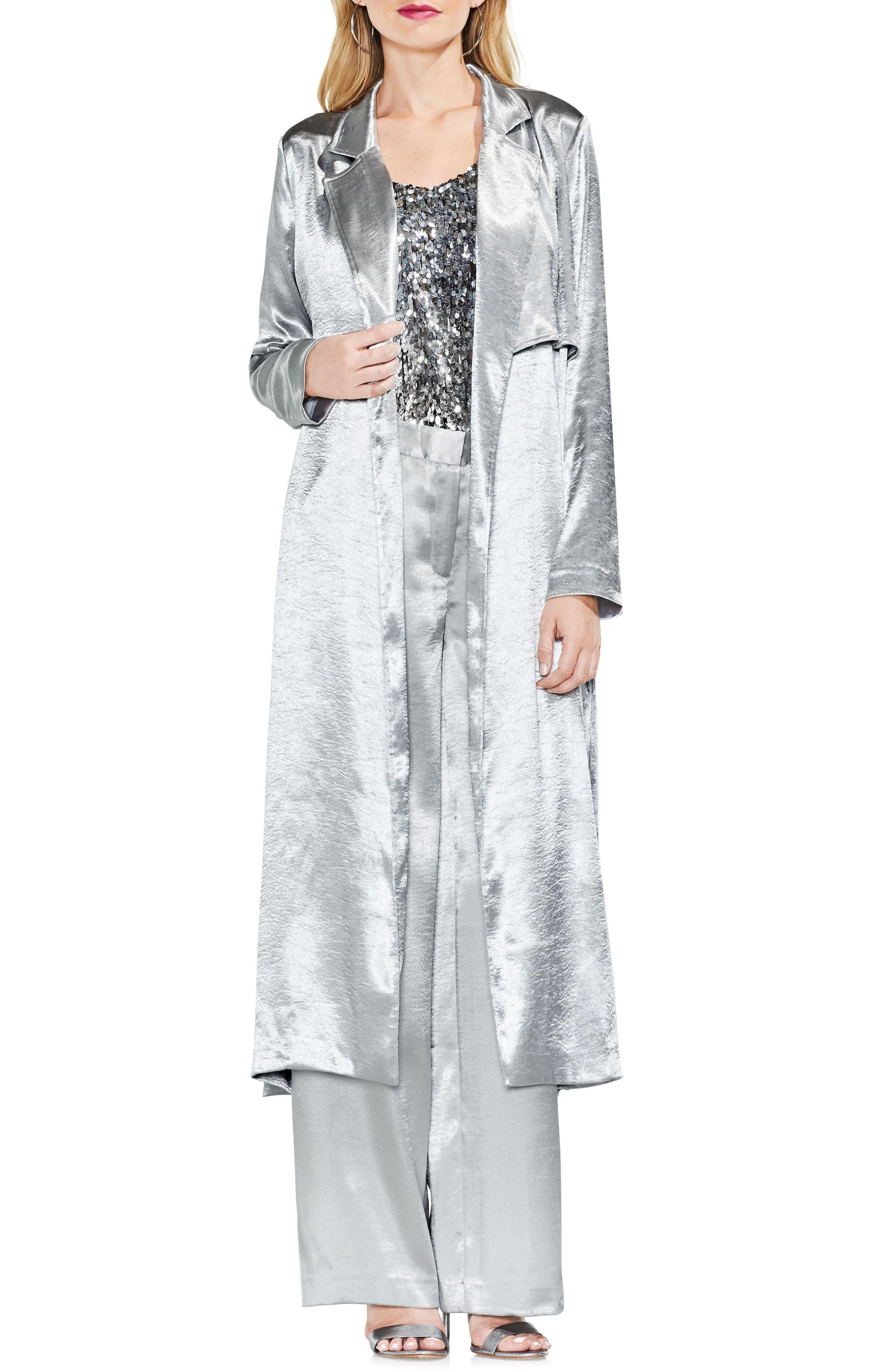 Rumple Satin Trench Coat,                         Main,                         color, Silver Mink