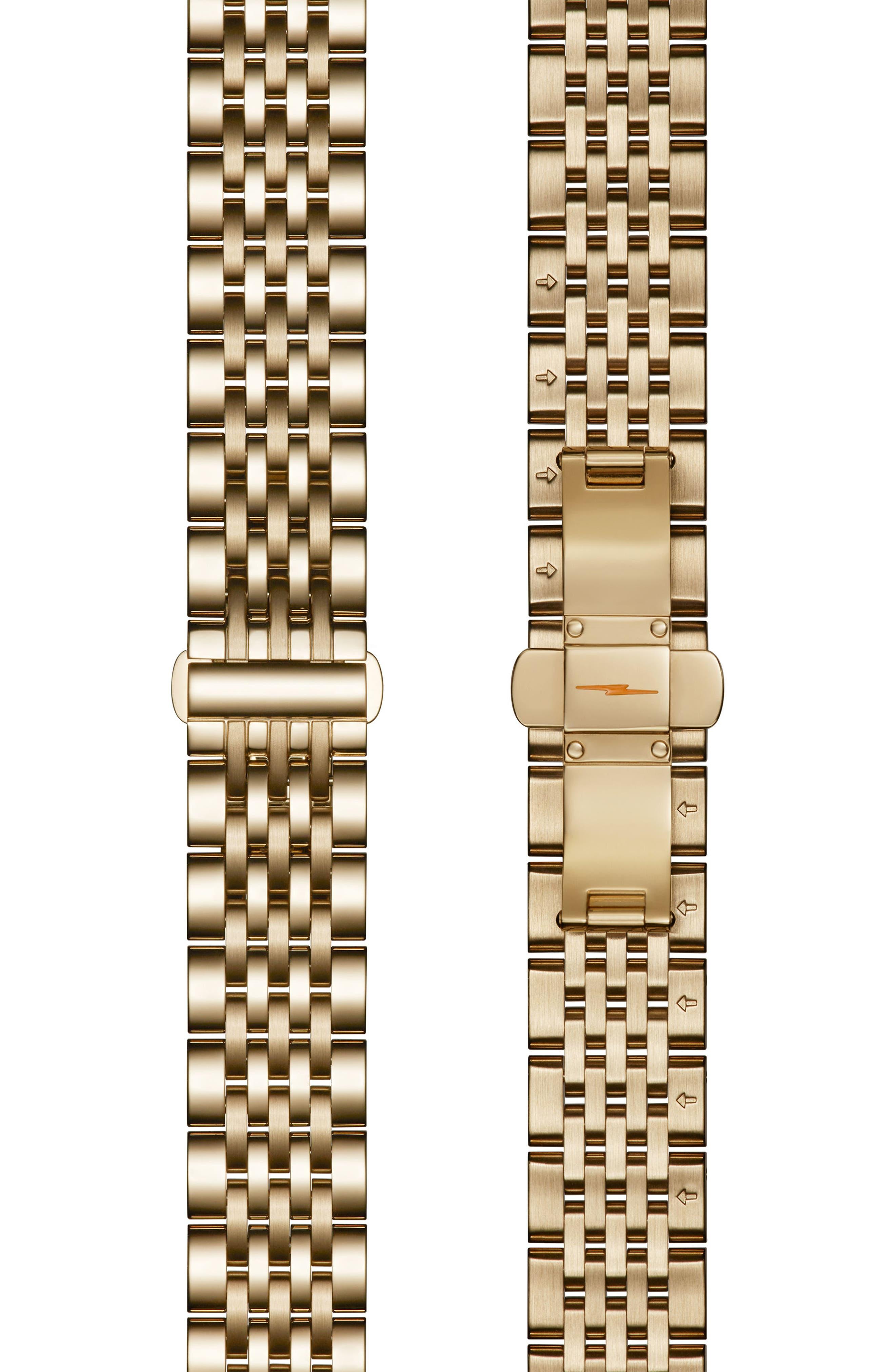 Cass Diamond Bracelet Watch, 28mm x 27mm,                             Alternate thumbnail 4, color,                             Gold/ Silver/ Gold