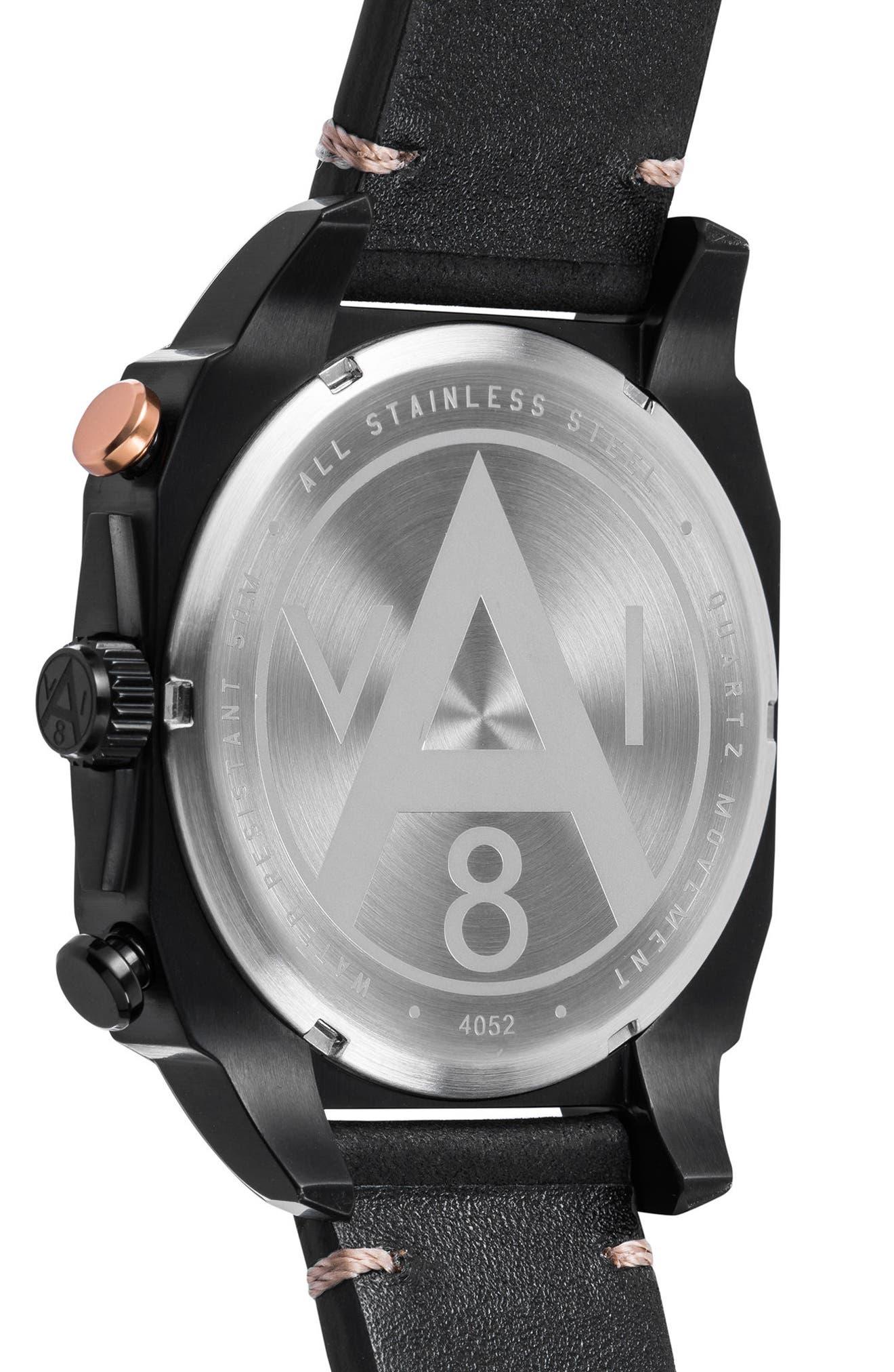 Alternate Image 2  - AVI-8 Hawker Hunter Chronograph Leather Strap Watch, 45mm