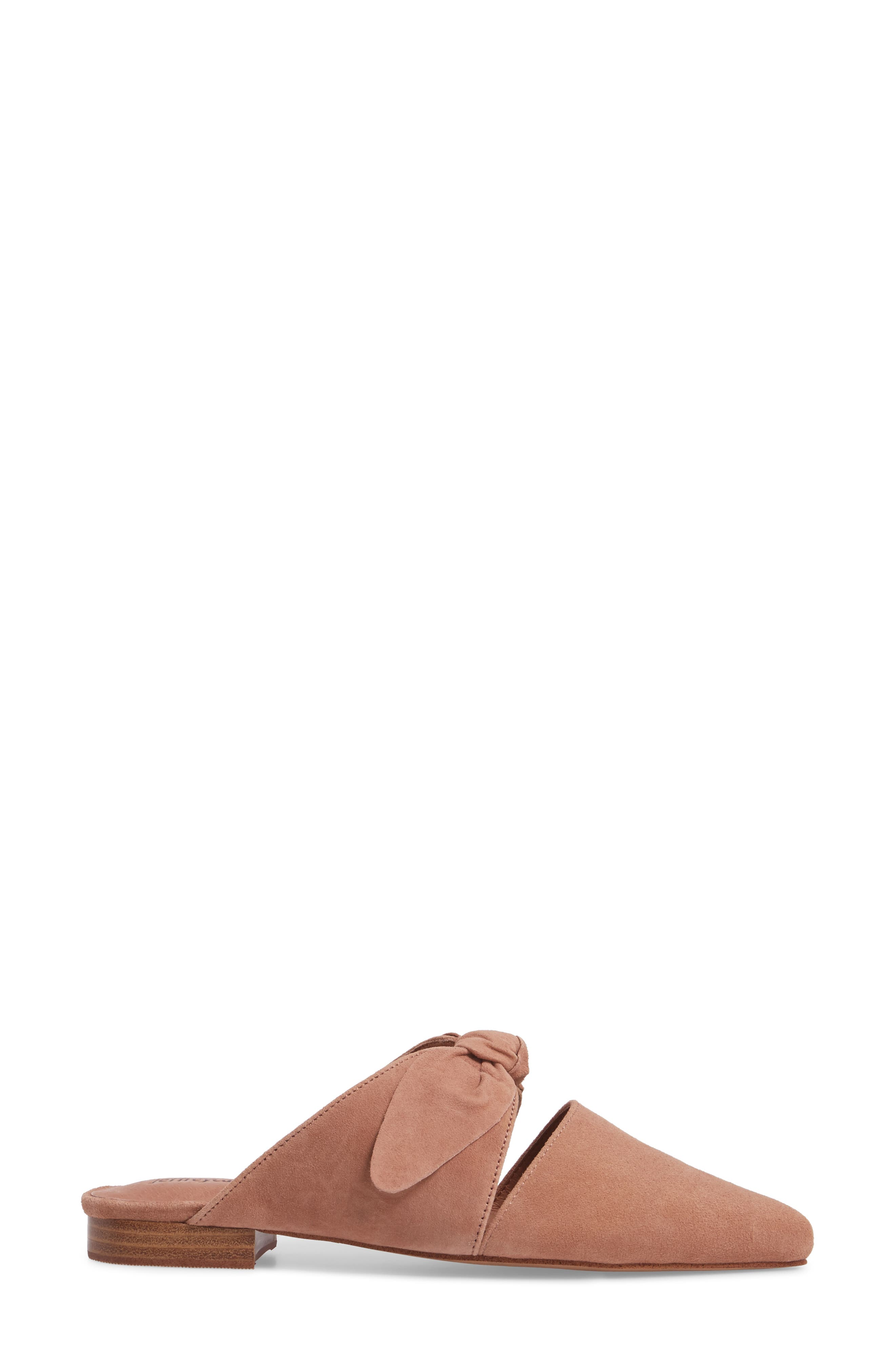 Charlin Bow Mule,                             Alternate thumbnail 3, color,                             Blush Suede
