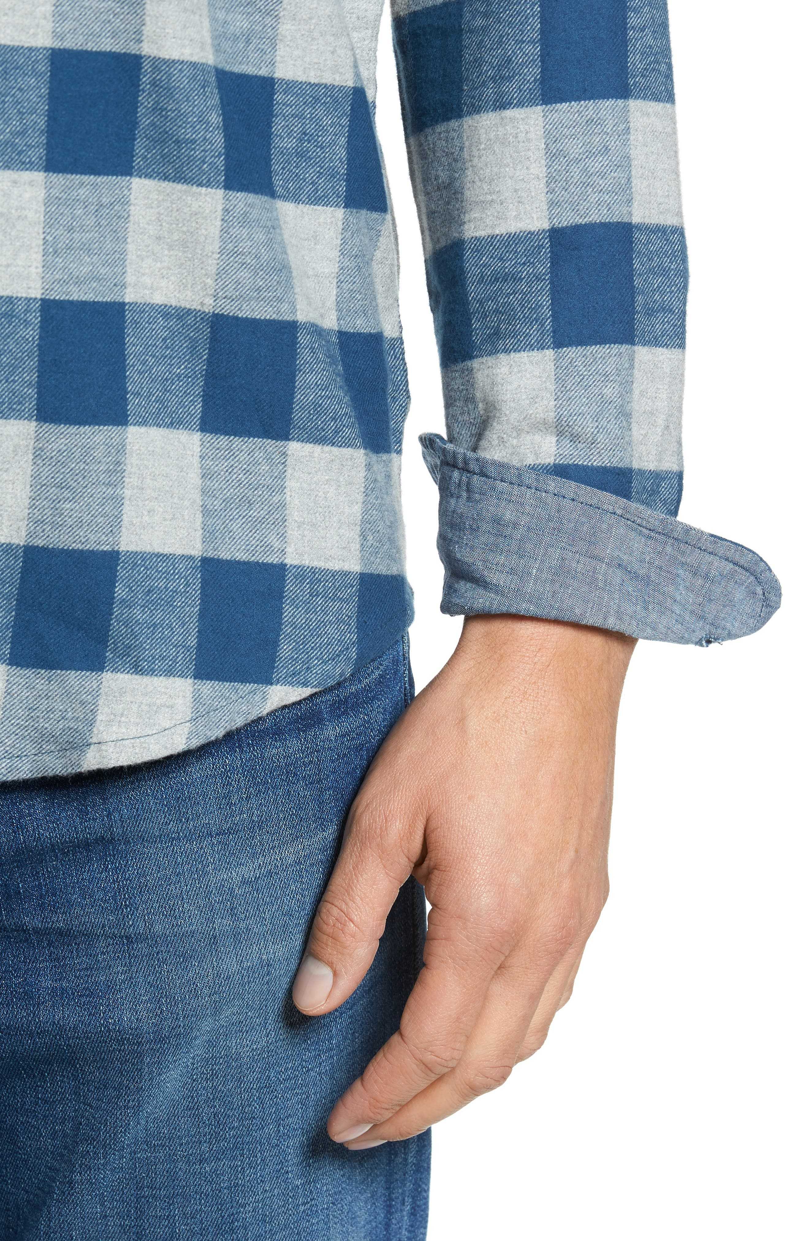 Buffalo Check Flannel Shirt,                             Alternate thumbnail 4, color,                             Teal/ Med Grey Heather