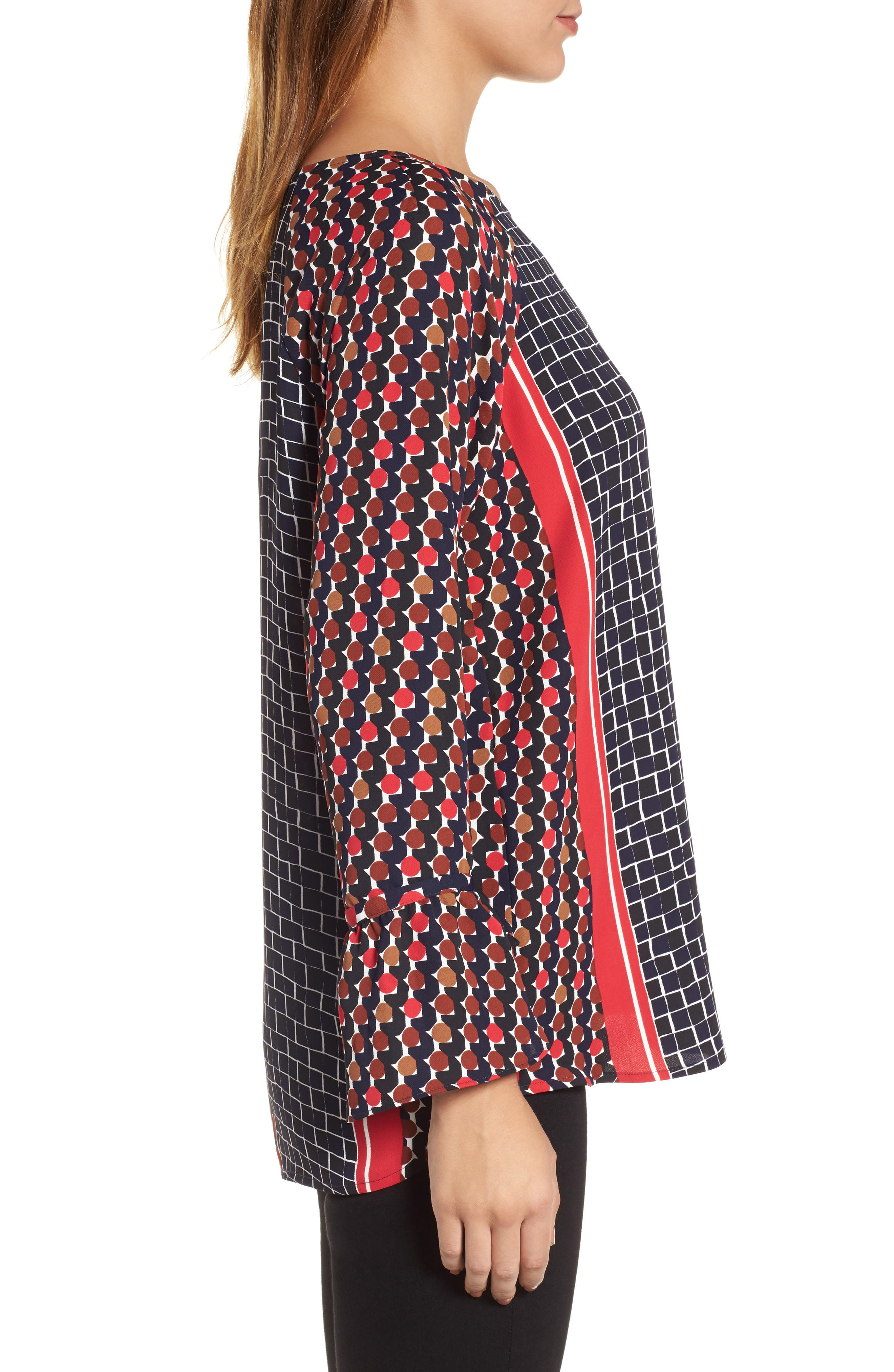 Mix Dots Bell Sleeve Top,                             Alternate thumbnail 3, color,                             Red Multi