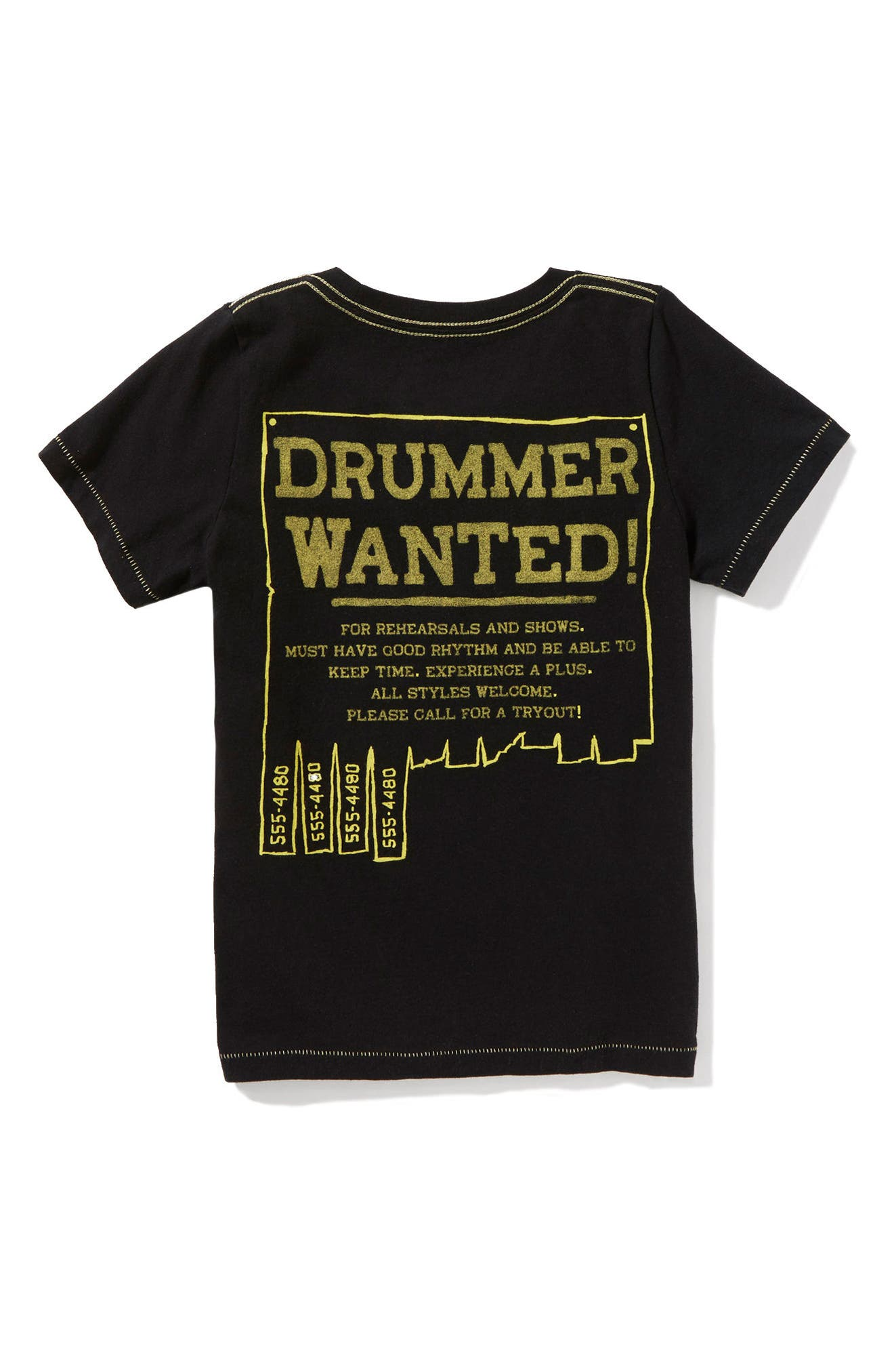 Drummer Wanted Graphic T-Shirt,                             Alternate thumbnail 2, color,                             Black