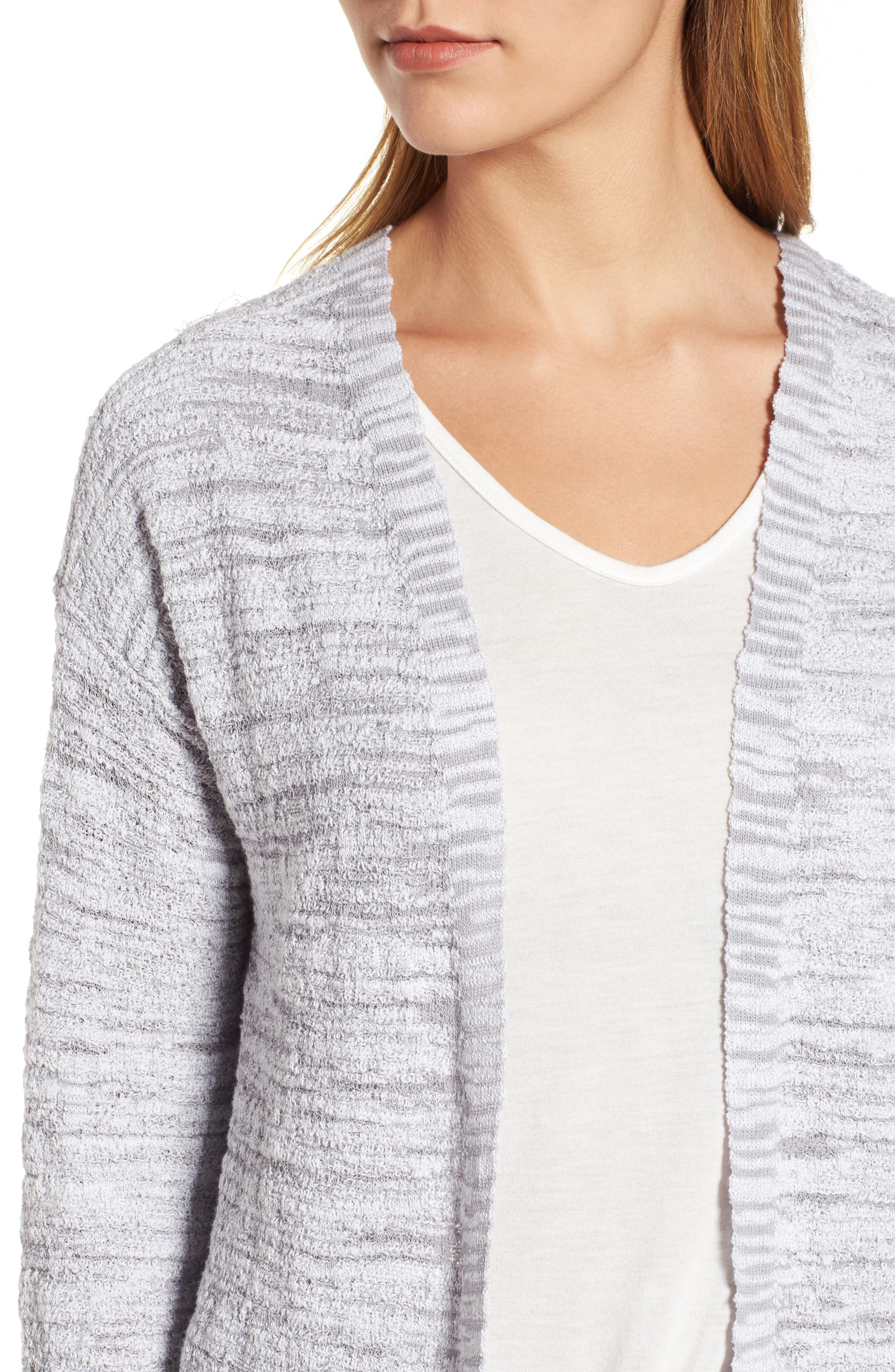 Lace It Back Cardigan,                             Alternate thumbnail 4, color,                             Icy Grey