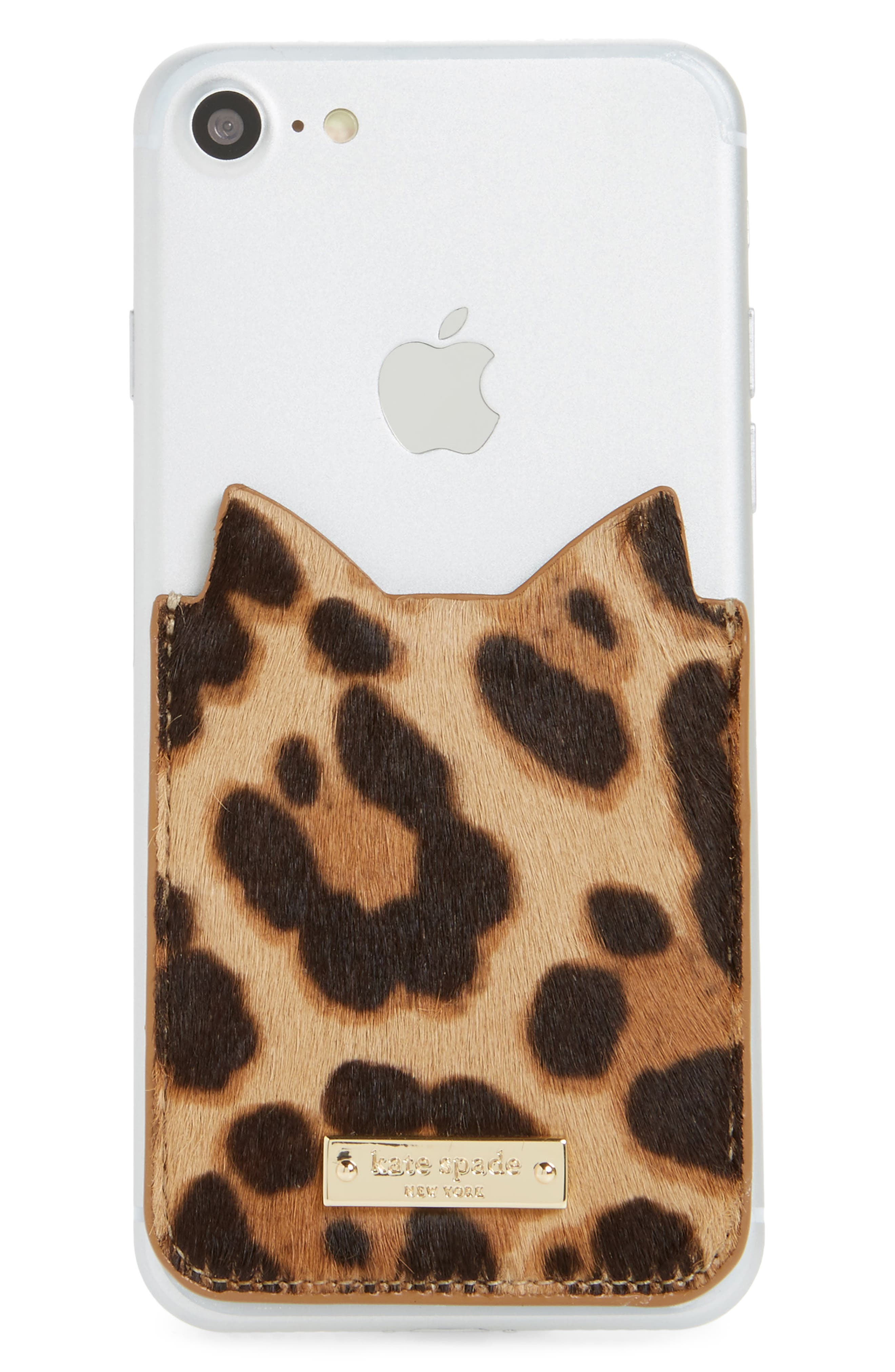 Alternate Image 1 Selected - kate spade new york cat genuine calf hair iPhone 7/8 sticker pocket