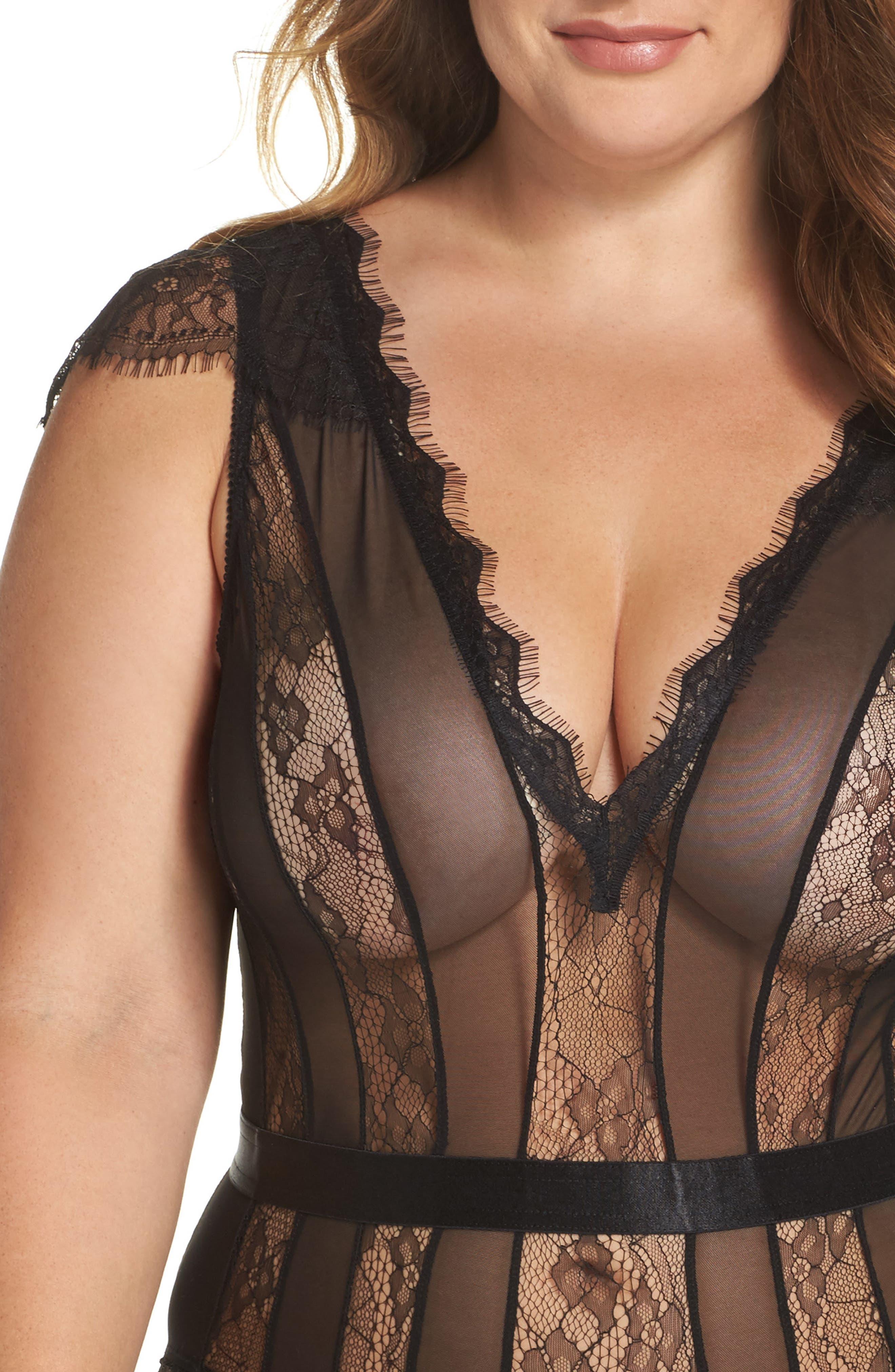 Alternate Image 5  - Oh La La Cheri Charlette Stripe Plunge Bodysuit (Plus Size)