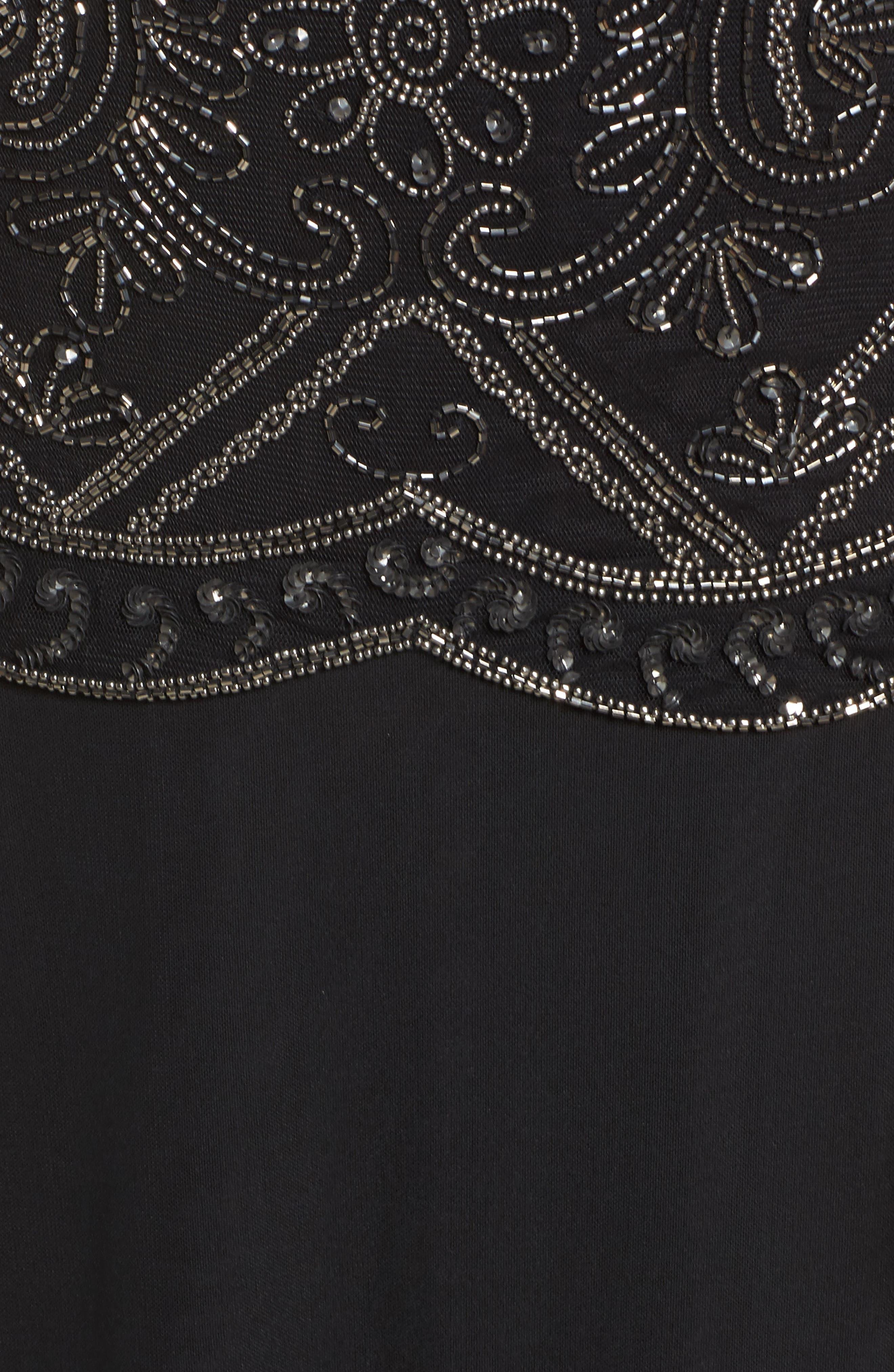 Embellished Cap Sleeve Long Dress,                             Alternate thumbnail 5, color,                             Black