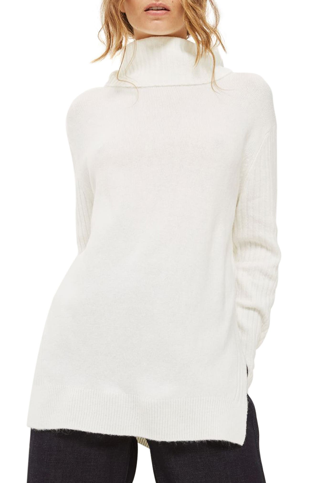 Oversize Turtleneck Sweater,                             Main thumbnail 1, color,                             Ivory