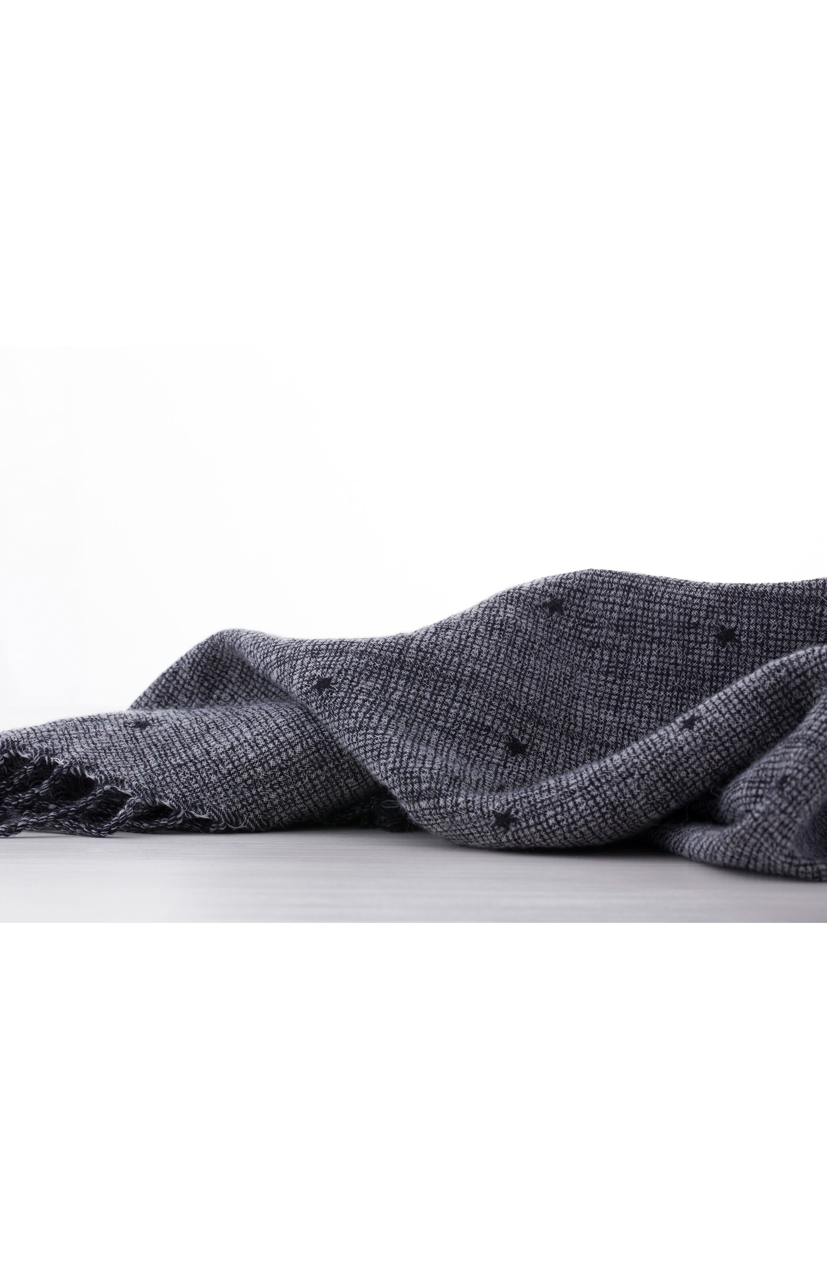 Blackstar Double Face Merino Wool Throw,                             Alternate thumbnail 4, color,                             Blackstar