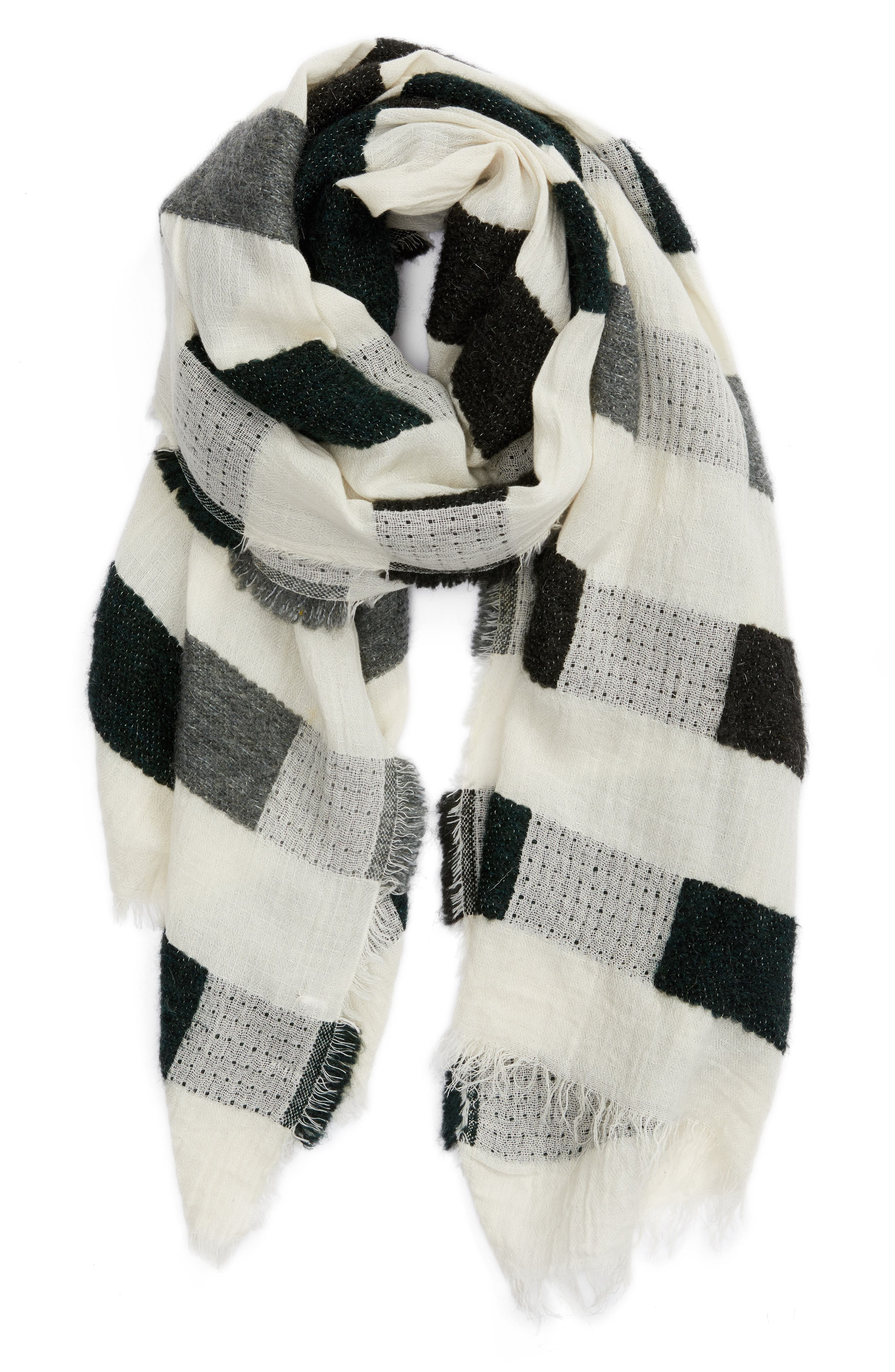Textured Jacquard Scarf,                             Alternate thumbnail 2, color,                             Ivory Combo