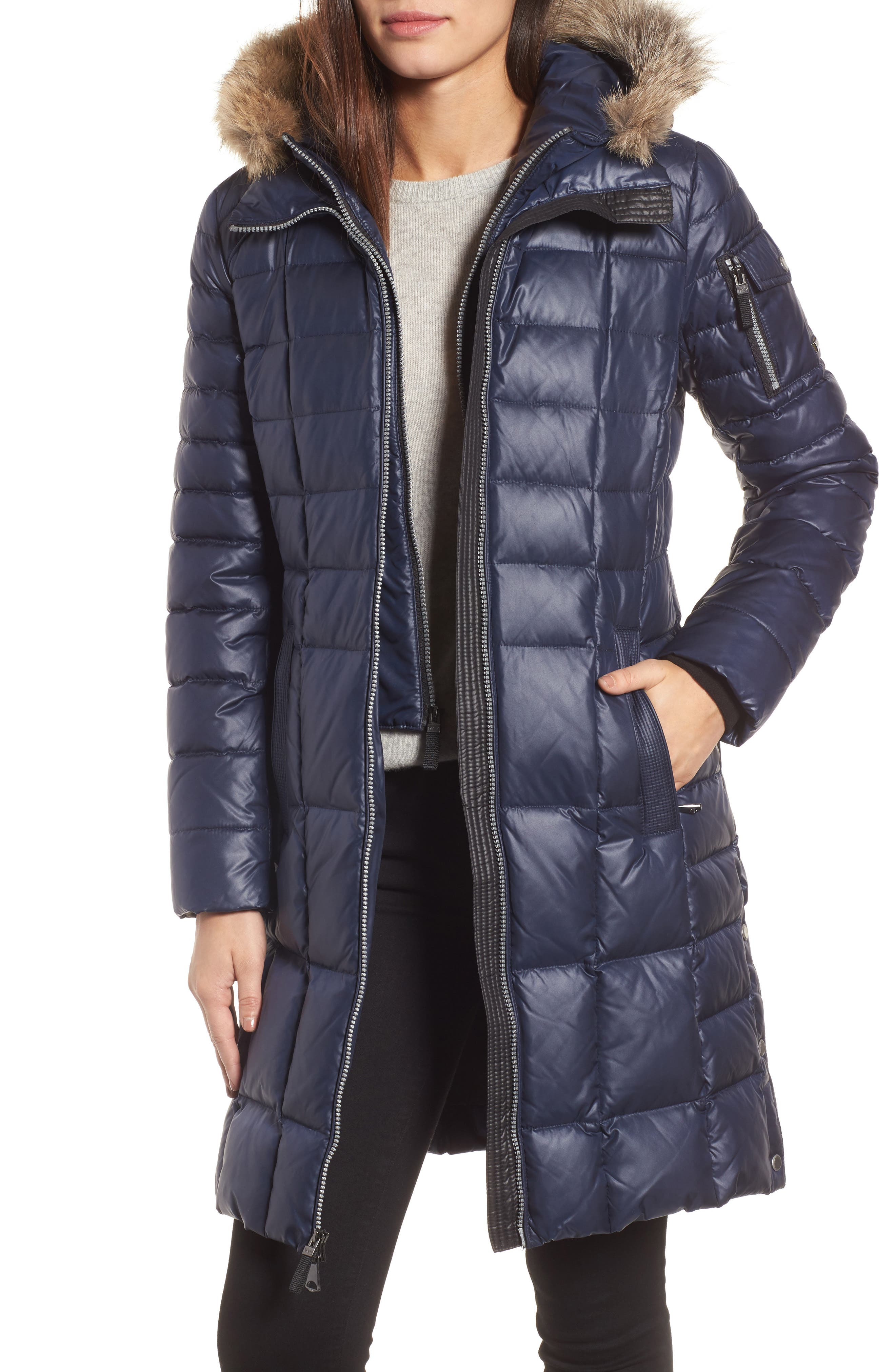 Quilted Coat with Genuine Coyote Fur,                             Main thumbnail 1, color,                             Navy