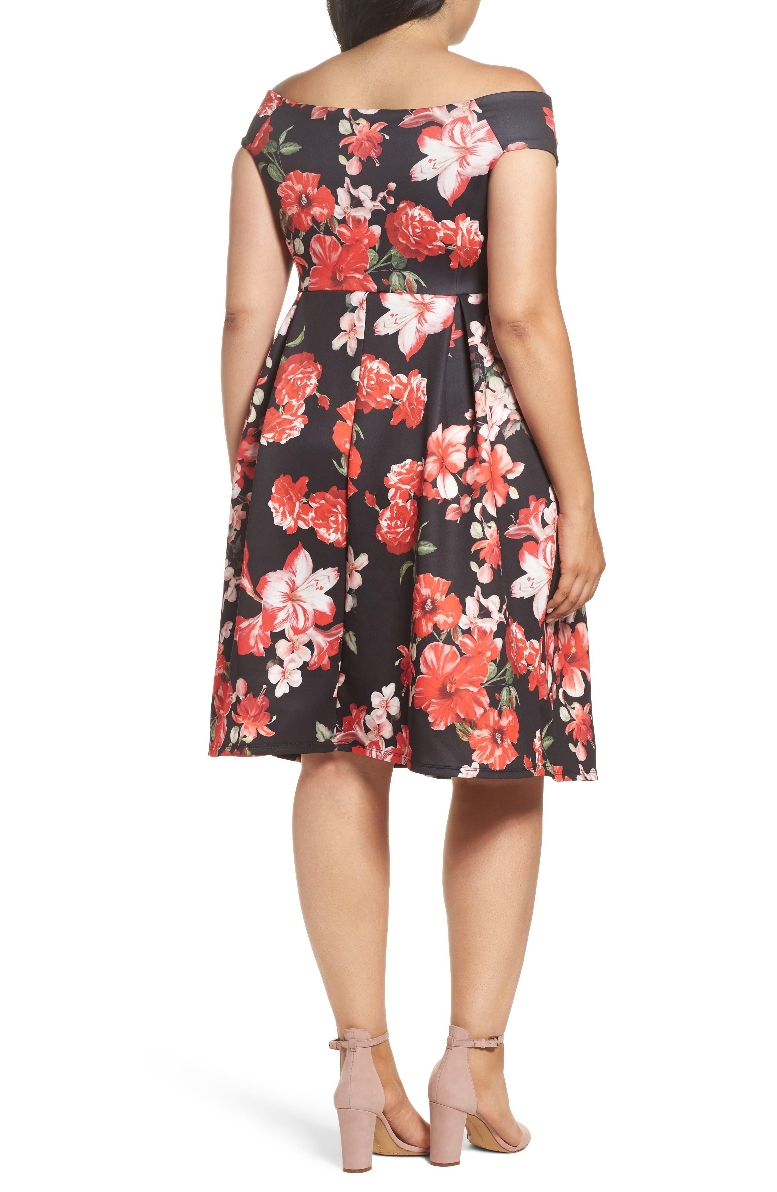 Floral Fit & Flare Dress,                             Alternate thumbnail 2, color,                             Pink